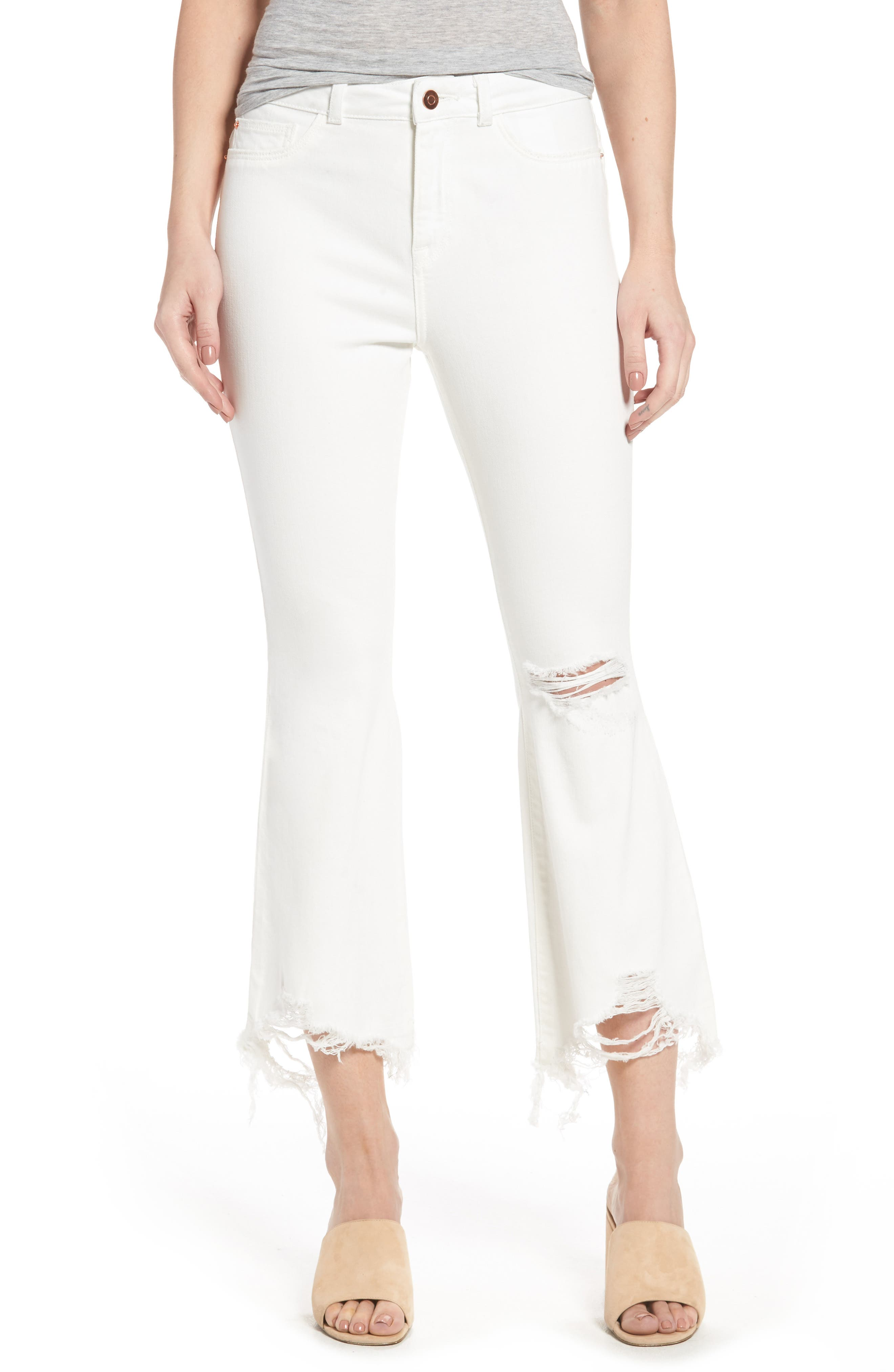 DL1961 Jackie Distressed High Waist Crop Flare Jeans (Eggshell)