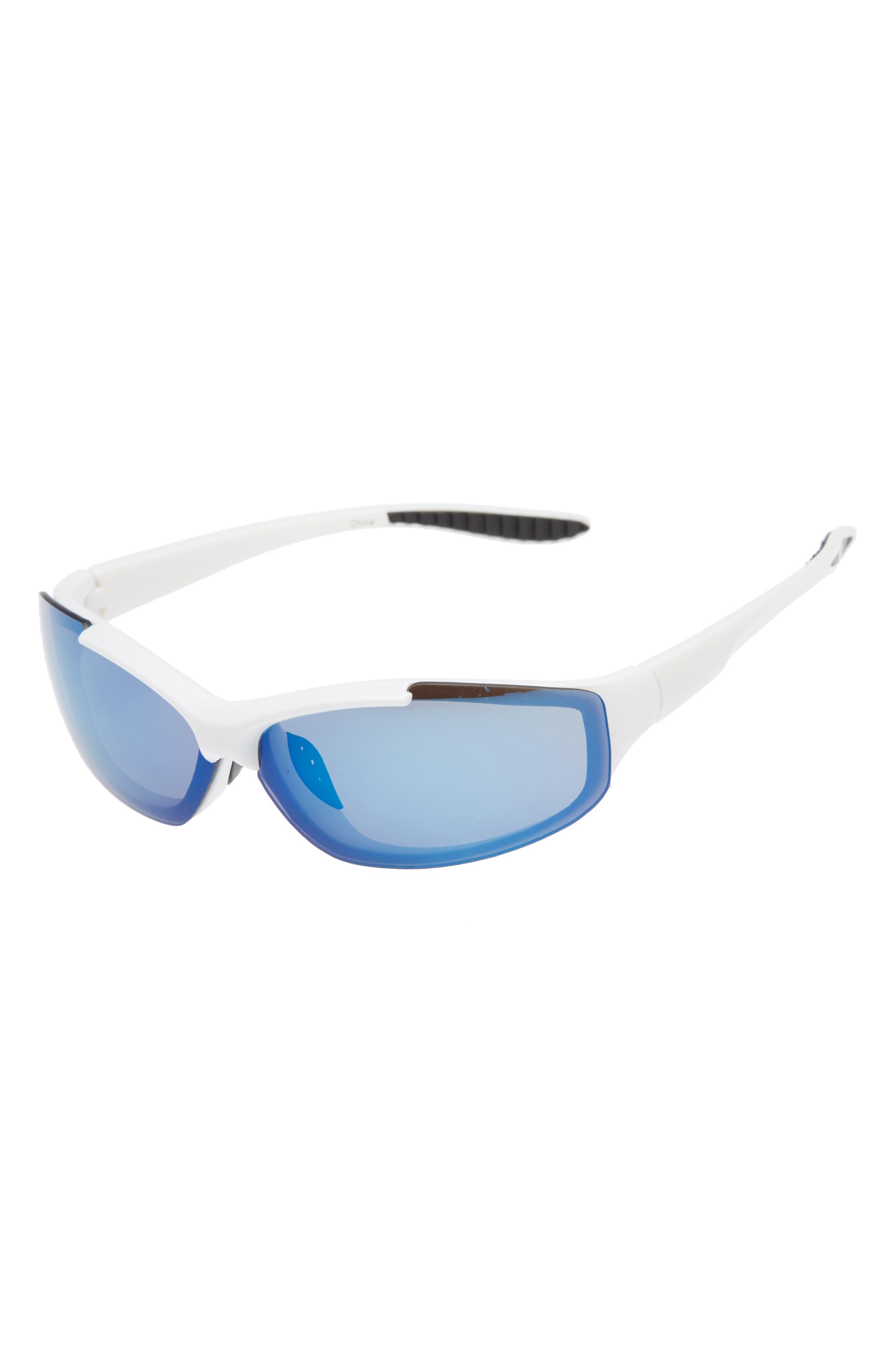 Semi Rimless Sunglasses,                         Main,                         color, Black/ White