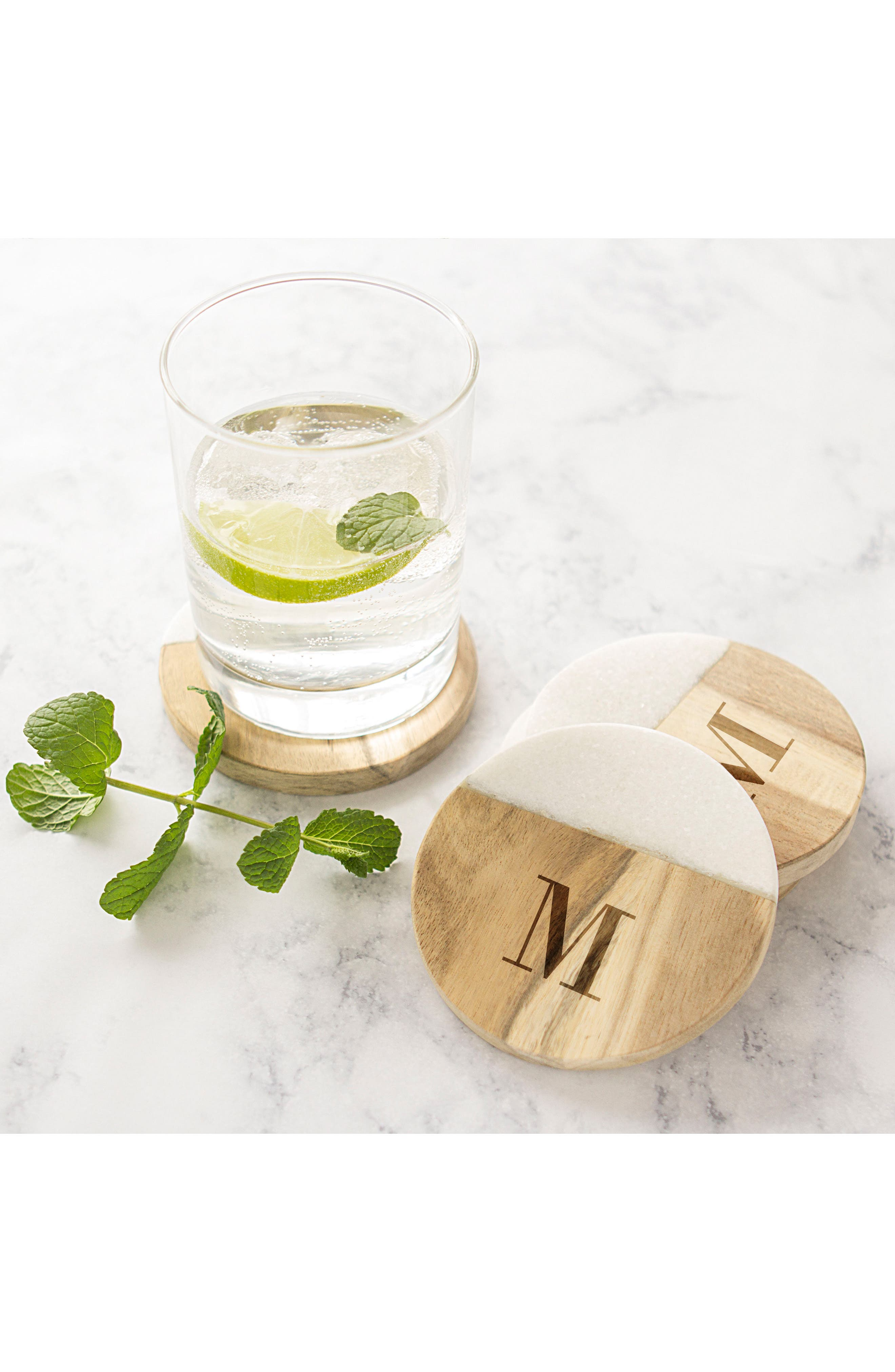 Cathy's Concepts Monogram Set of 4 Marble & Acacia Wood Coasters