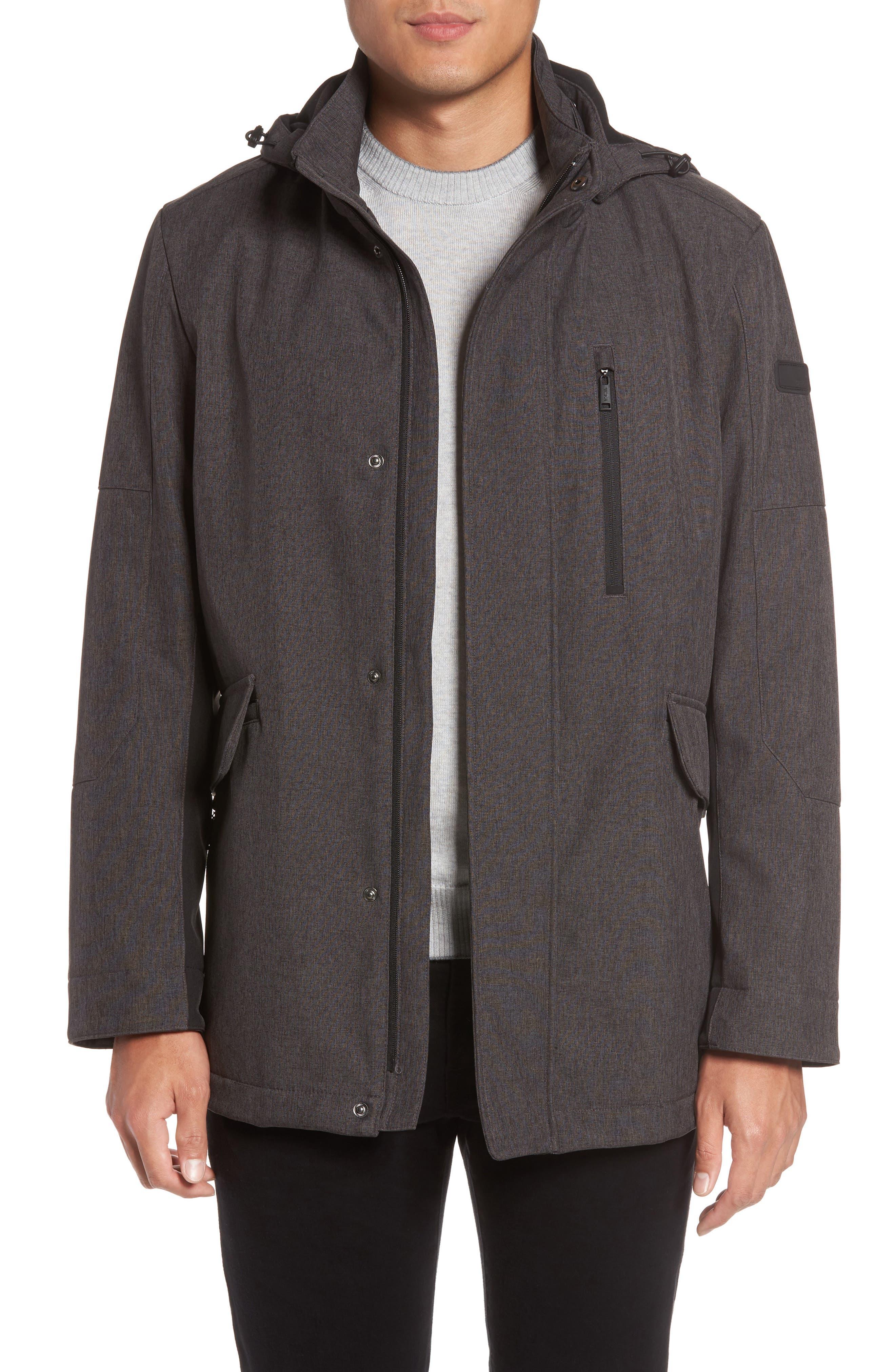 Understated Commuter Water-Resistant Jacket with Removable Hood,                         Main,                         color, Melange Grey