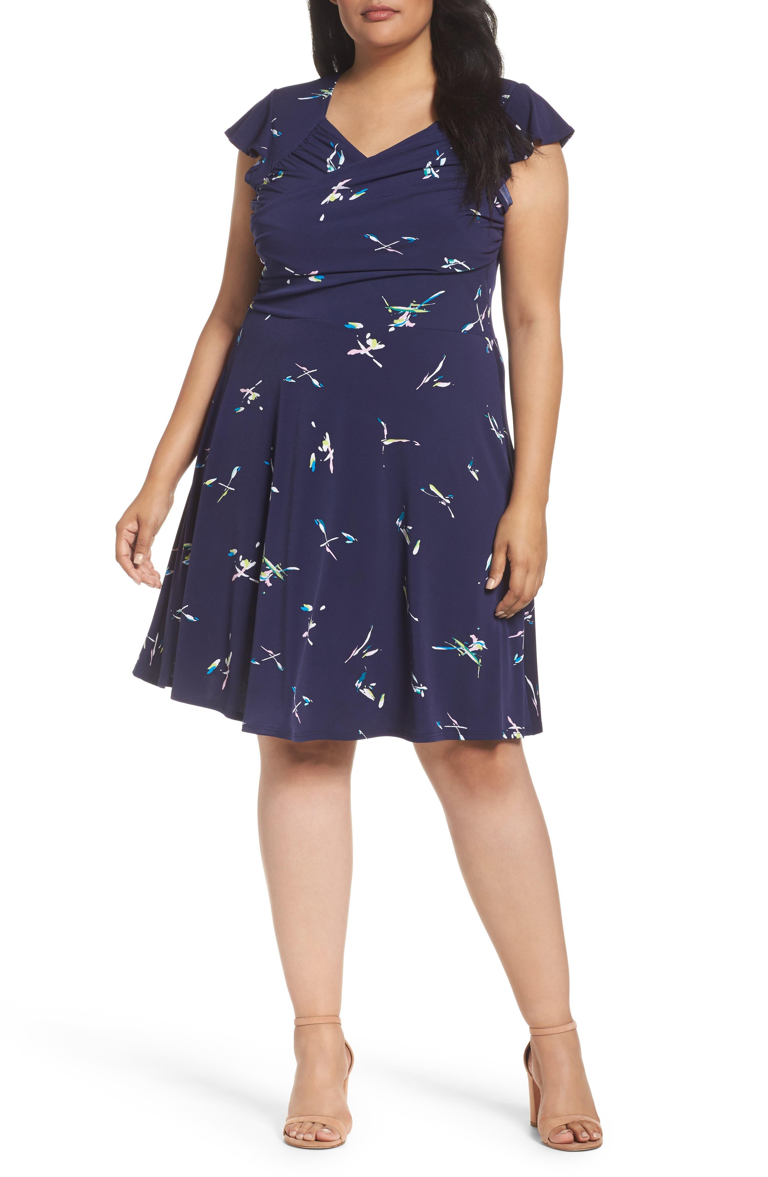 LEOTA Flutter Sleeve A-Line Dress
