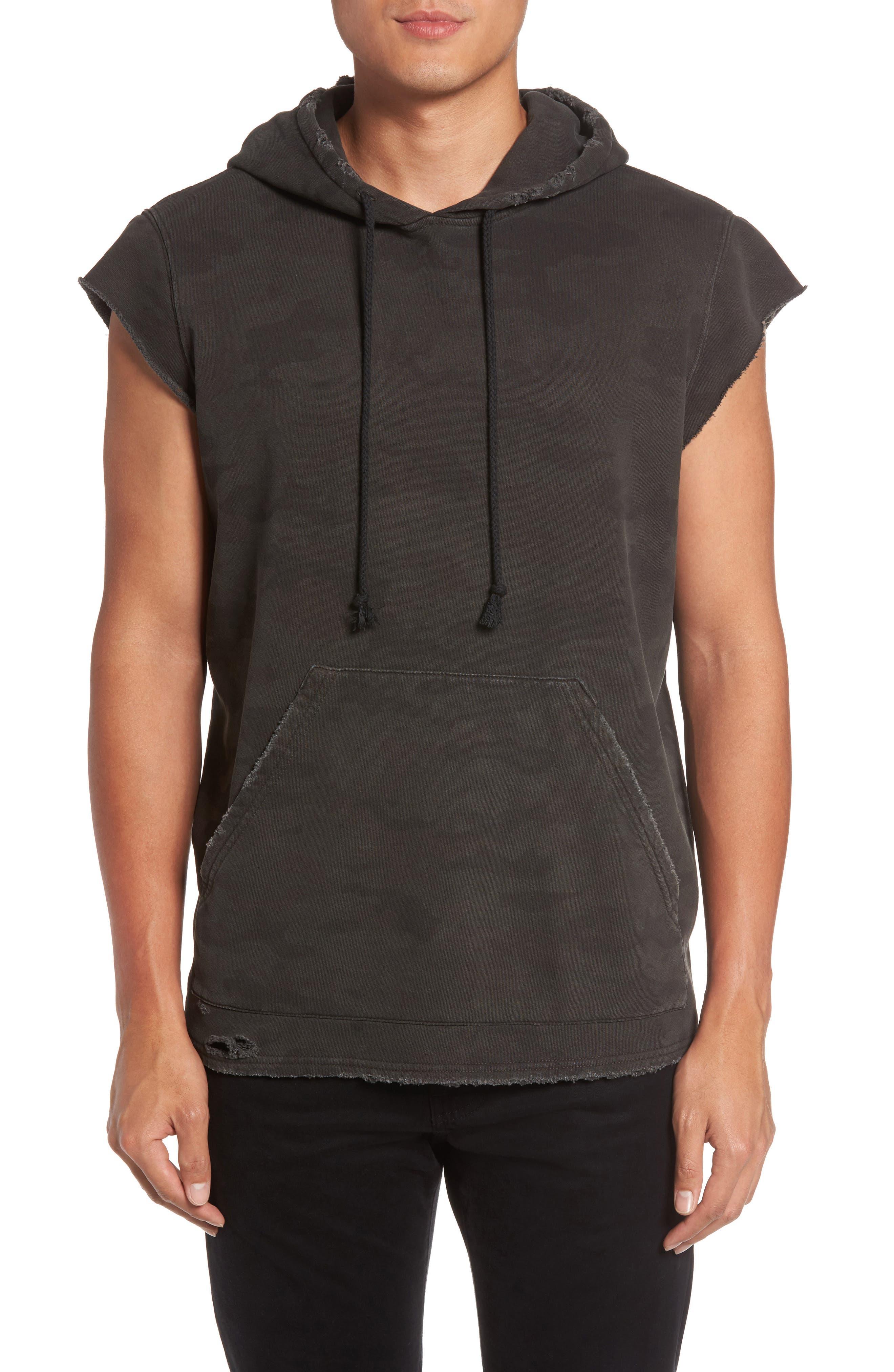 Slim Fit Cutoff Sleeve Hoodie,                         Main,                         color, Downturn