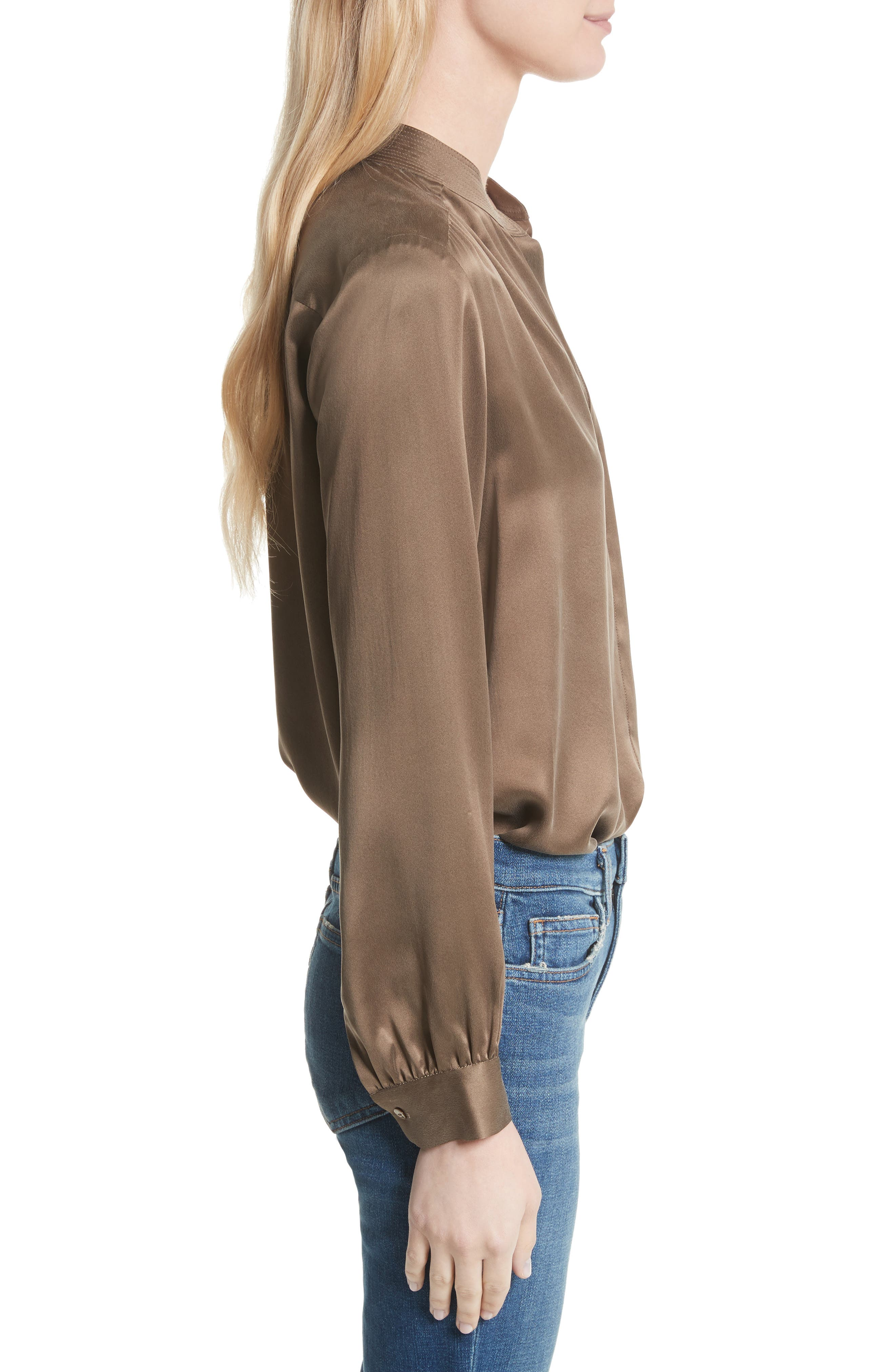 Bianca Silk Blouse,                             Alternate thumbnail 3, color,                             Washed Brown