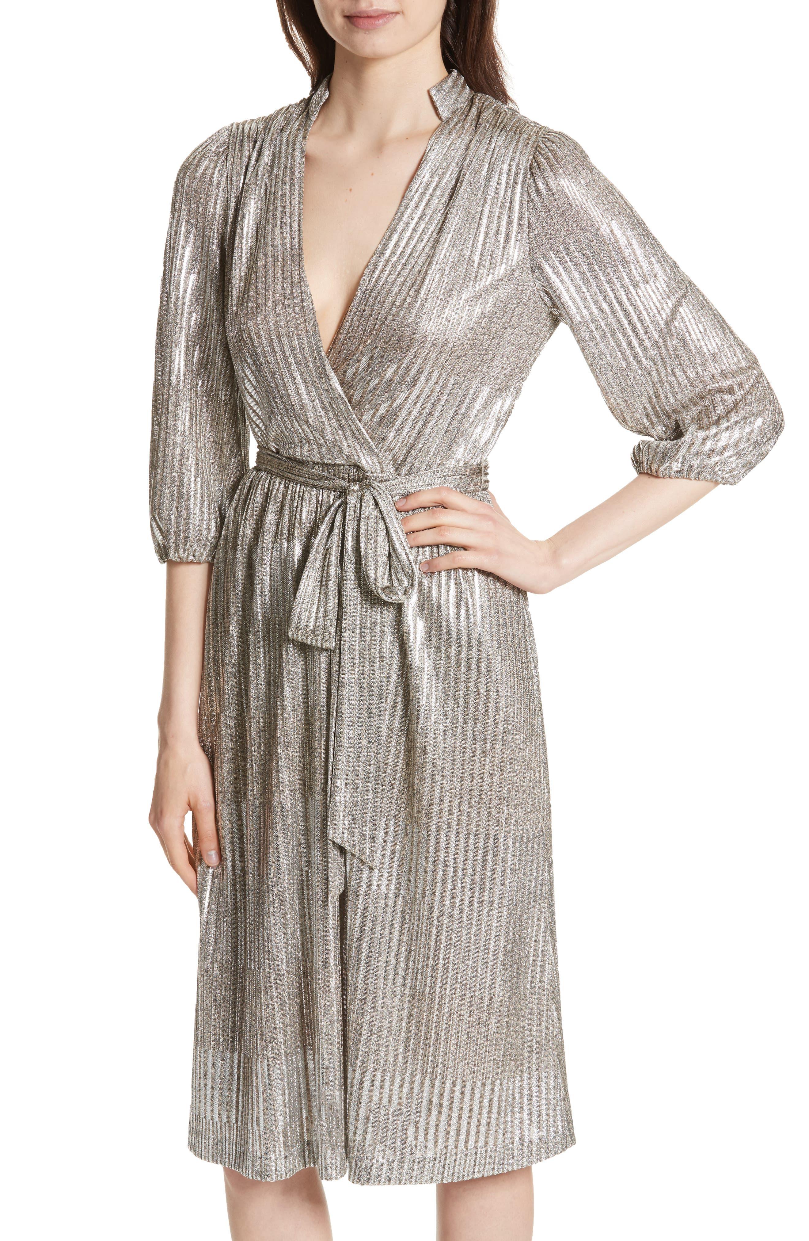 Katina Metallic Wrap Dress,                             Alternate thumbnail 4, color,                             Gold