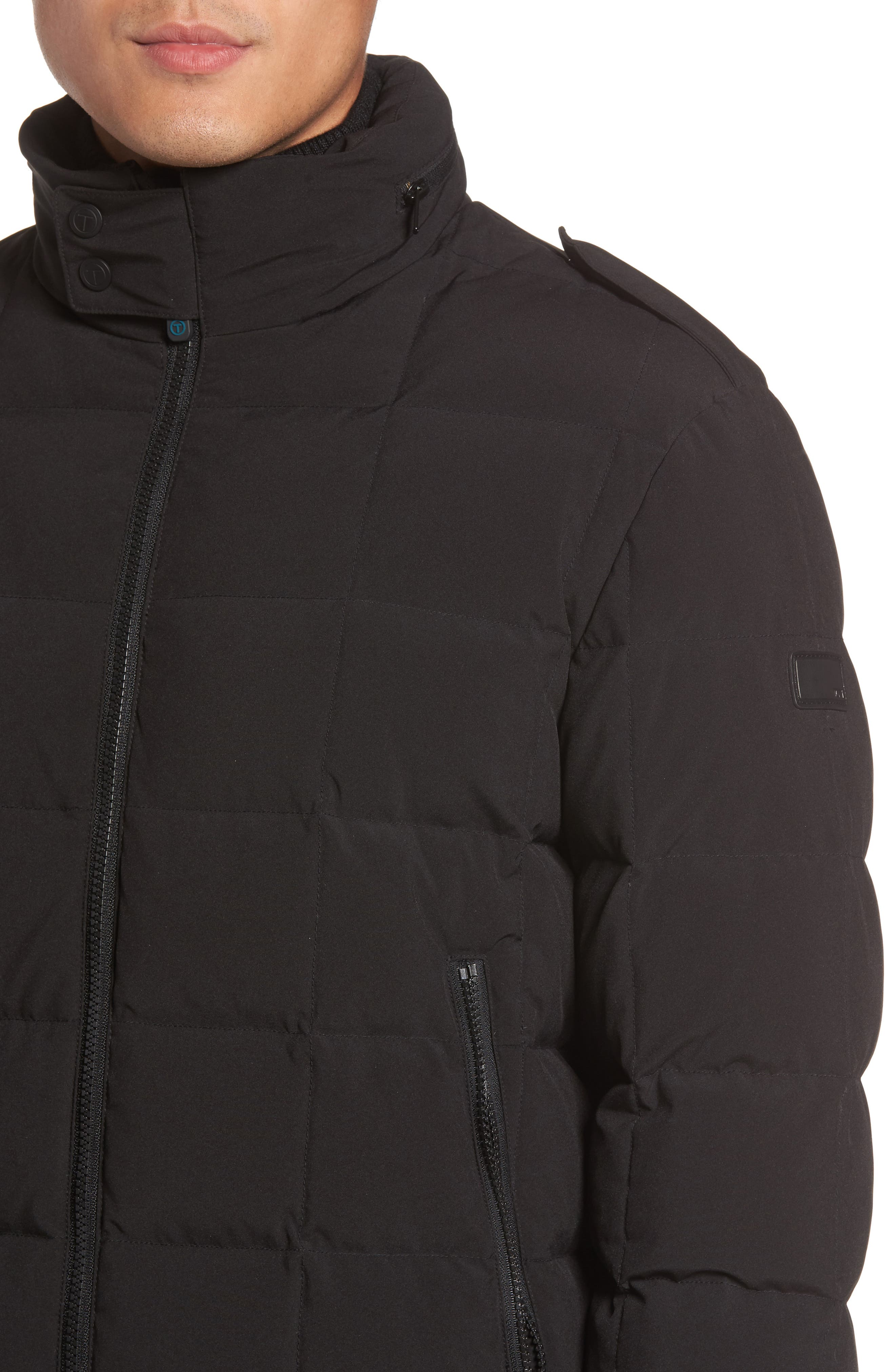 Box Quilted Jacket,                             Alternate thumbnail 4, color,                             Black