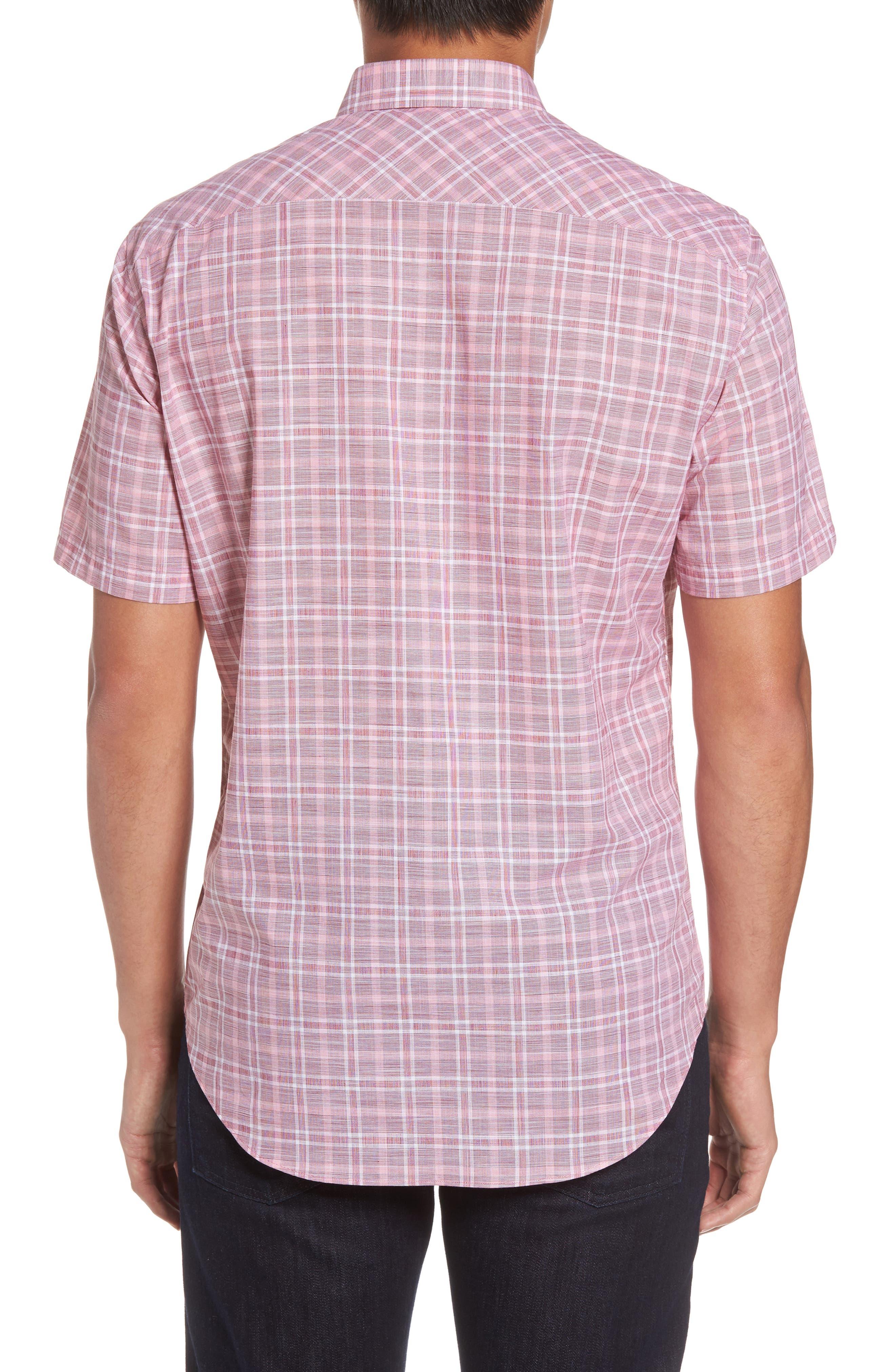 Holland Plaid Short Sleeve Sport Shirt,                             Alternate thumbnail 2, color,                             Red