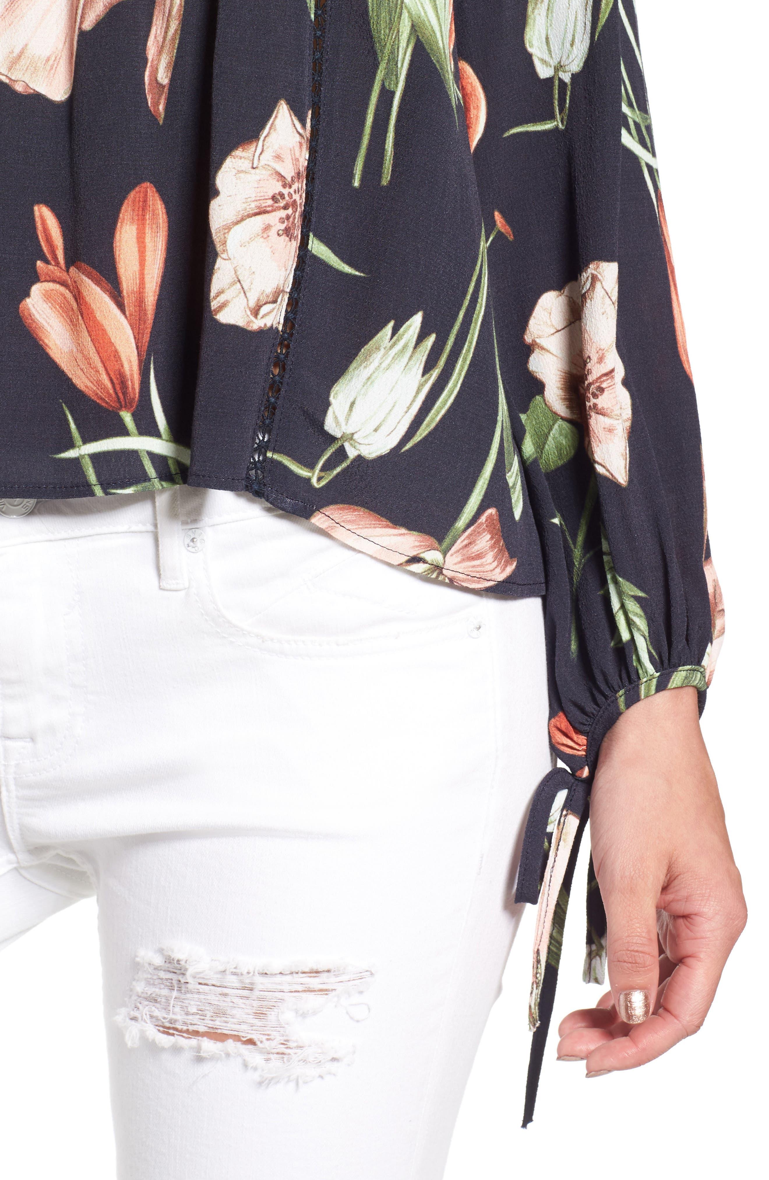 Chavelle Off the Shoulder Blouse,                             Alternate thumbnail 5, color,                             Black Multi Floral