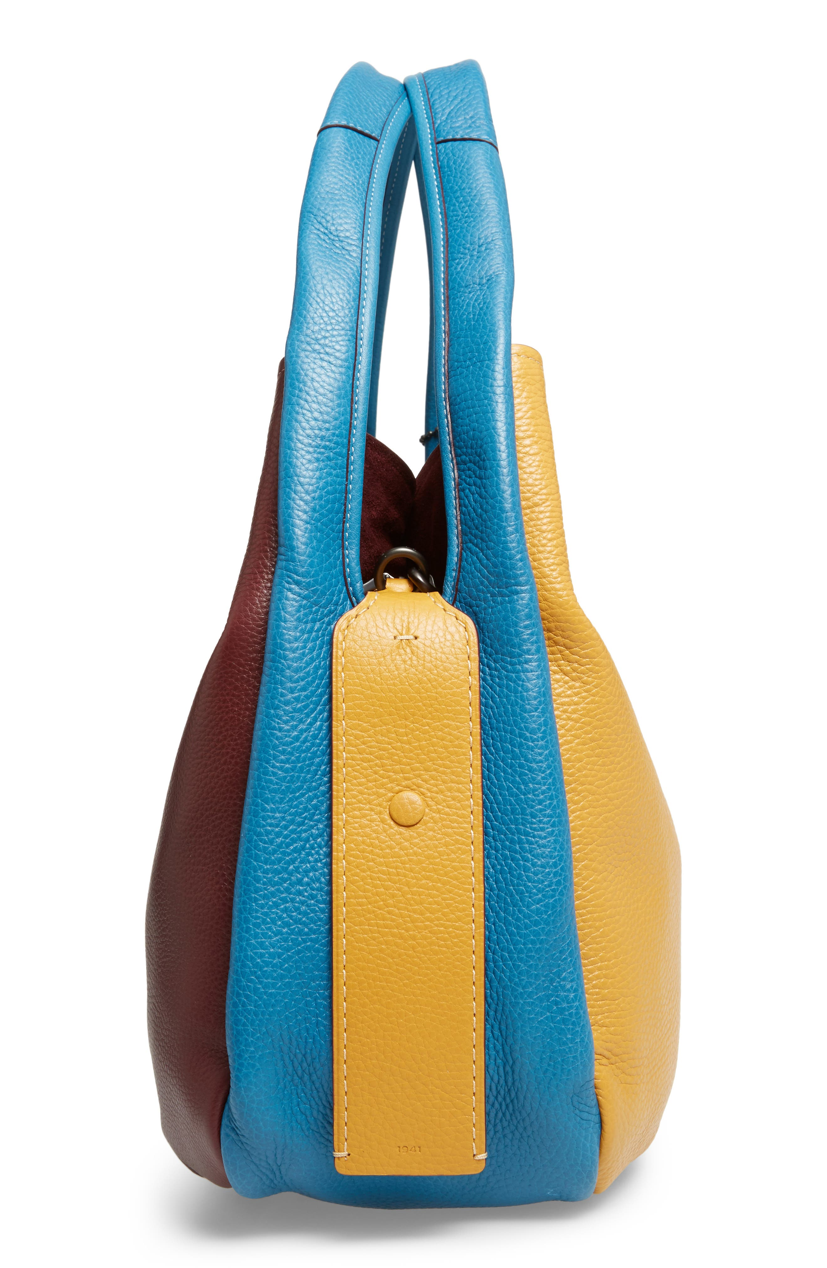 Colorblock Bandit Leather Hobo Bag,                             Alternate thumbnail 4, color,                             Goldenrod Multi