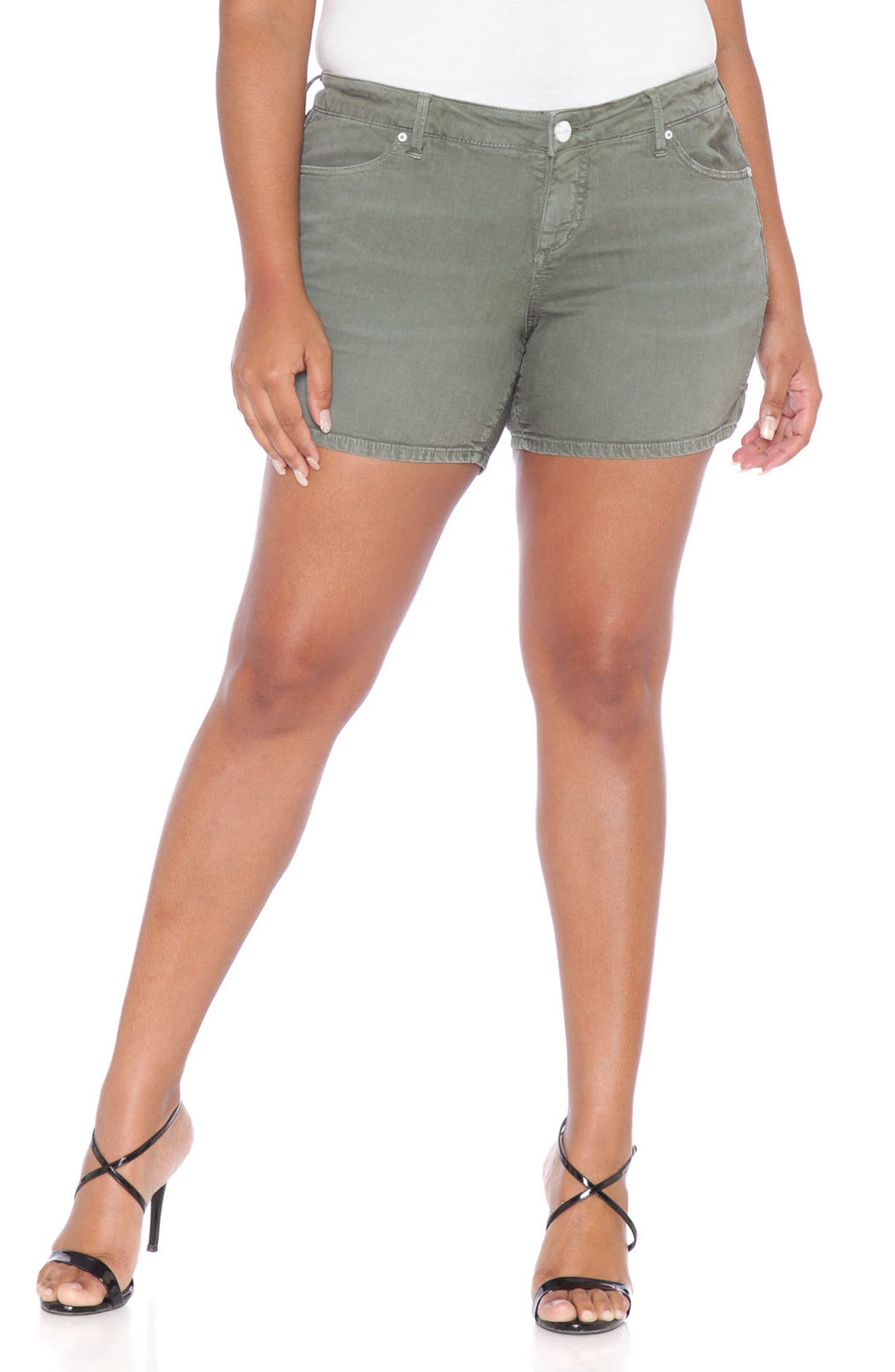 Alternate Image 1 Selected - SLINK Jeans Stretch Twill Shorts (Plus Size)