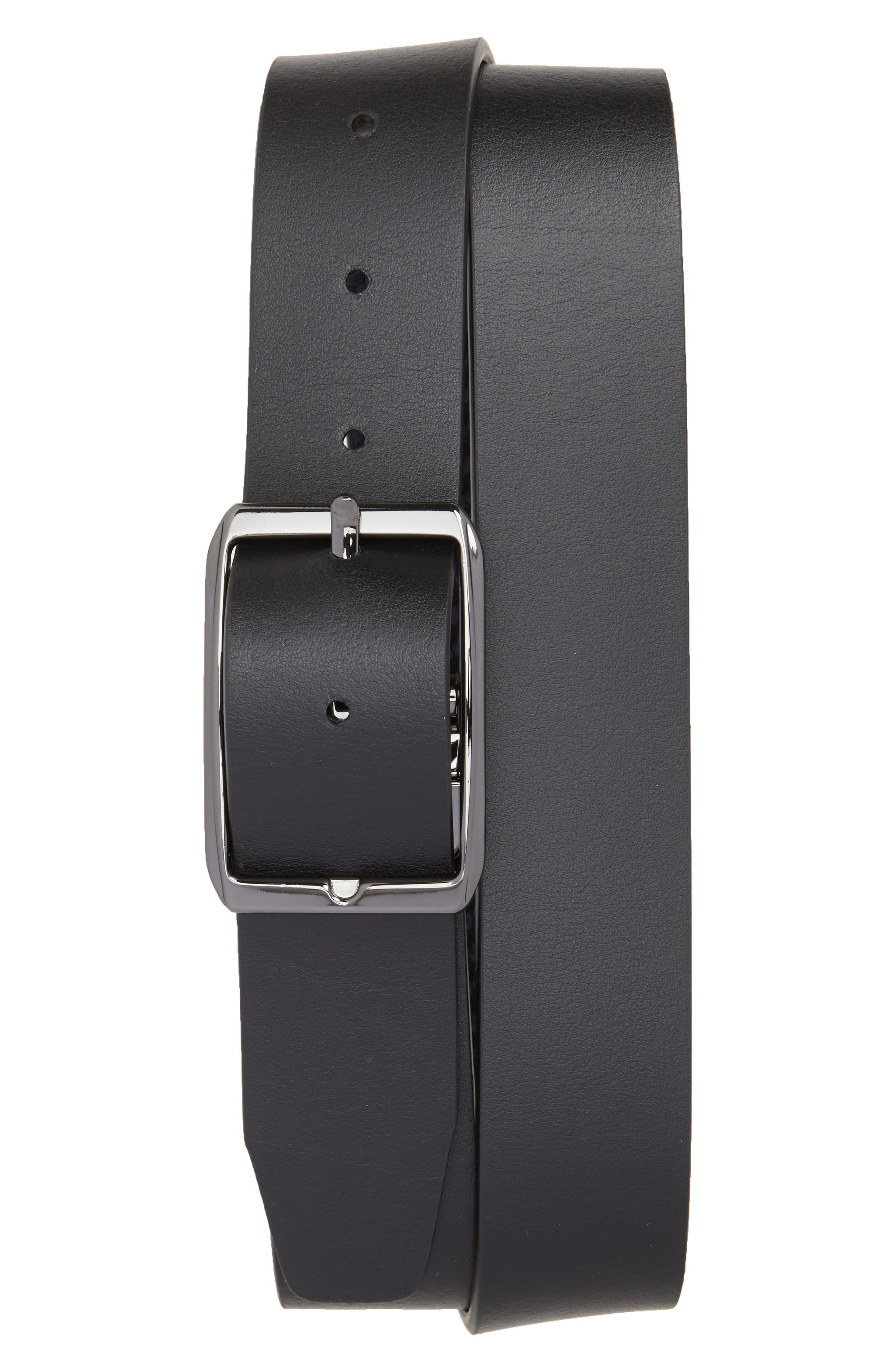 Canali Carbon Leather Belt