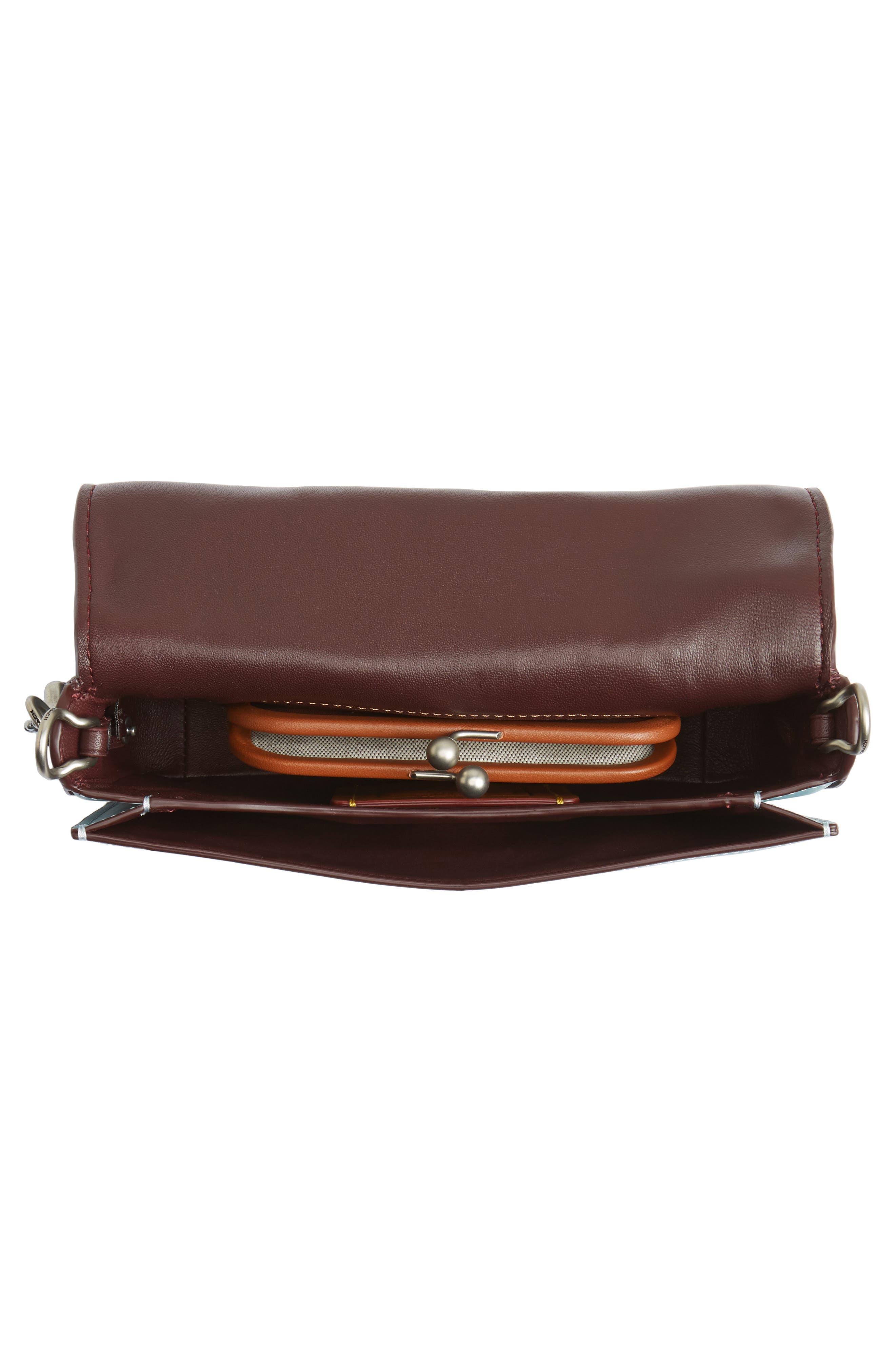 Dinky Tea Rose Appliqué Leather Crossbody Bag,                             Alternate thumbnail 3, color,                             Steel Blue