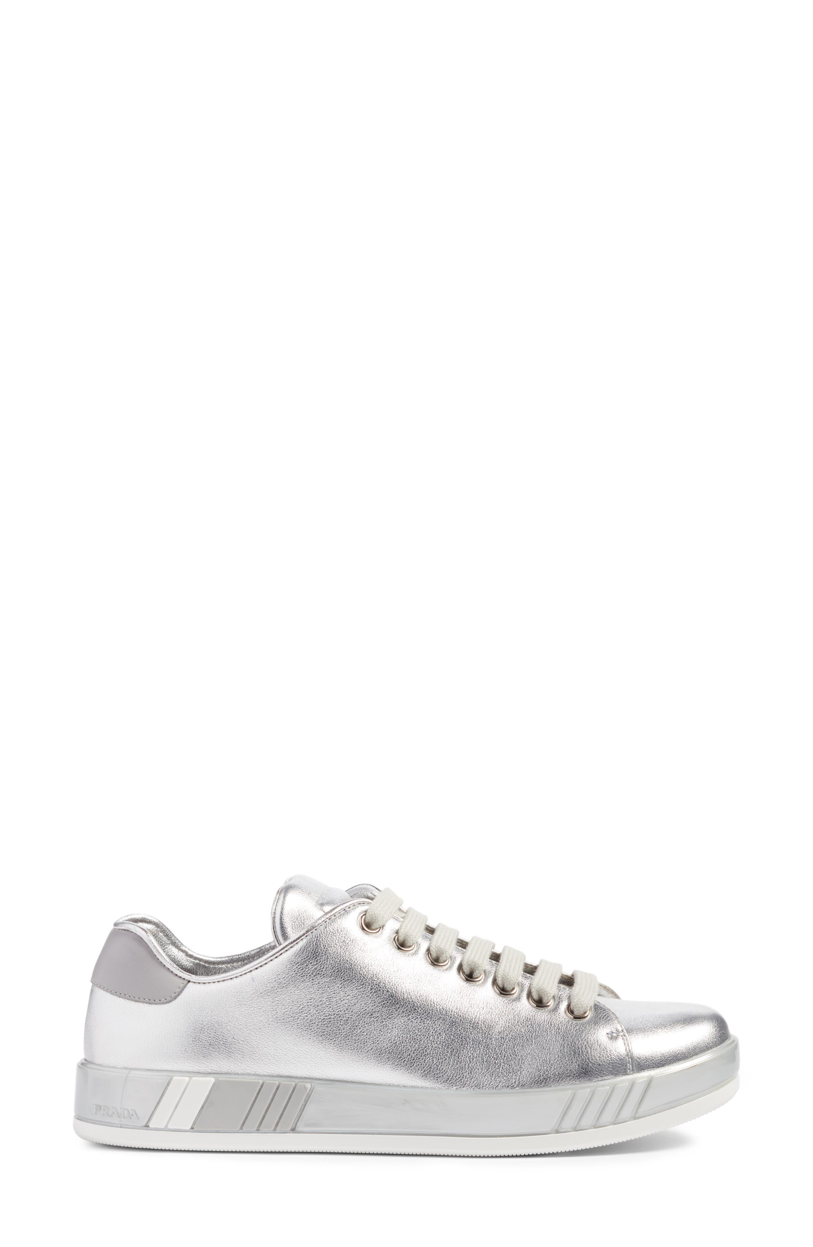 Low Top Sneaker,                             Alternate thumbnail 3, color,                             Metallic Silver
