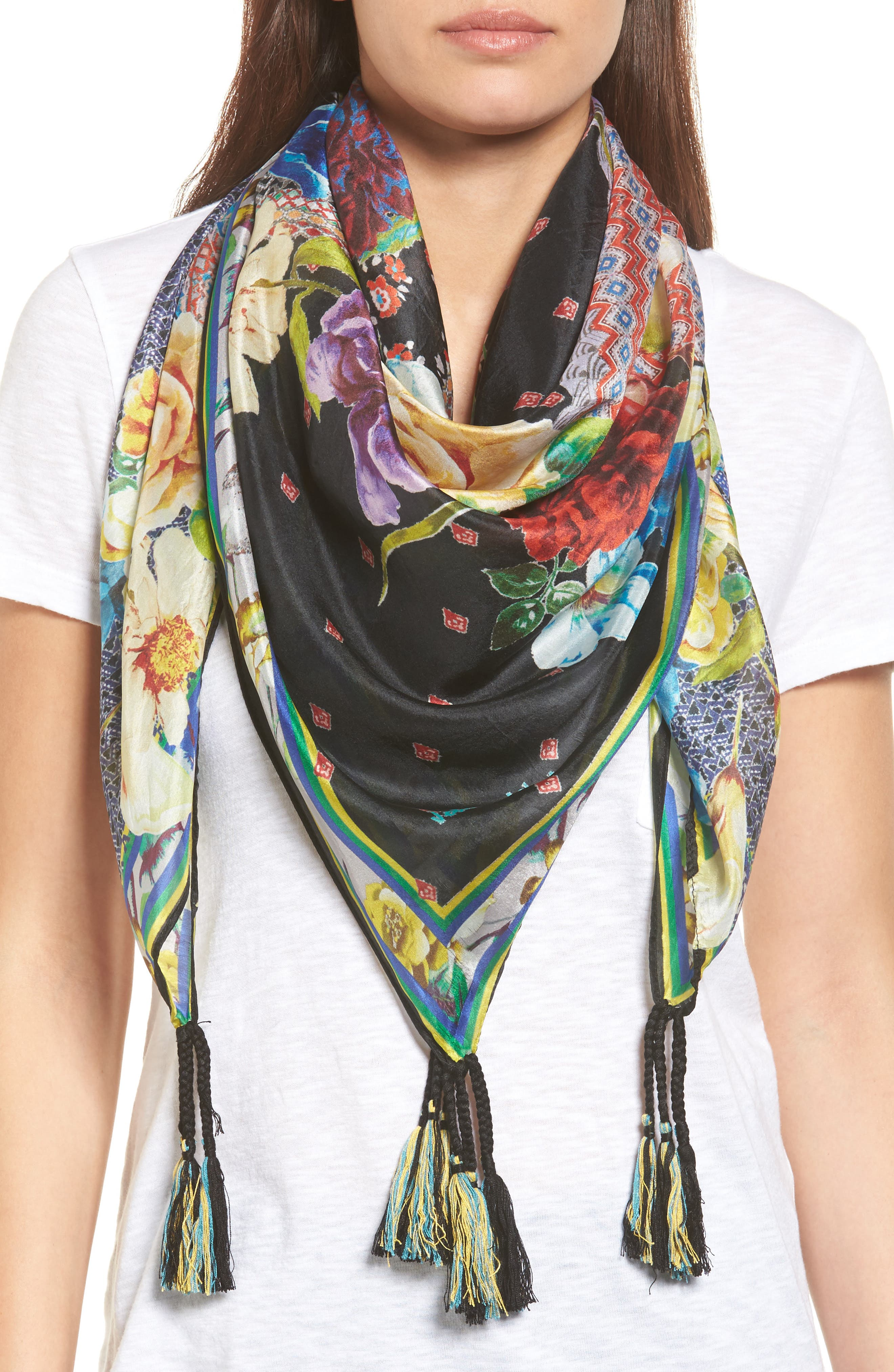 Mabel Silk Square Scarf,                         Main,                         color, Mixed Print