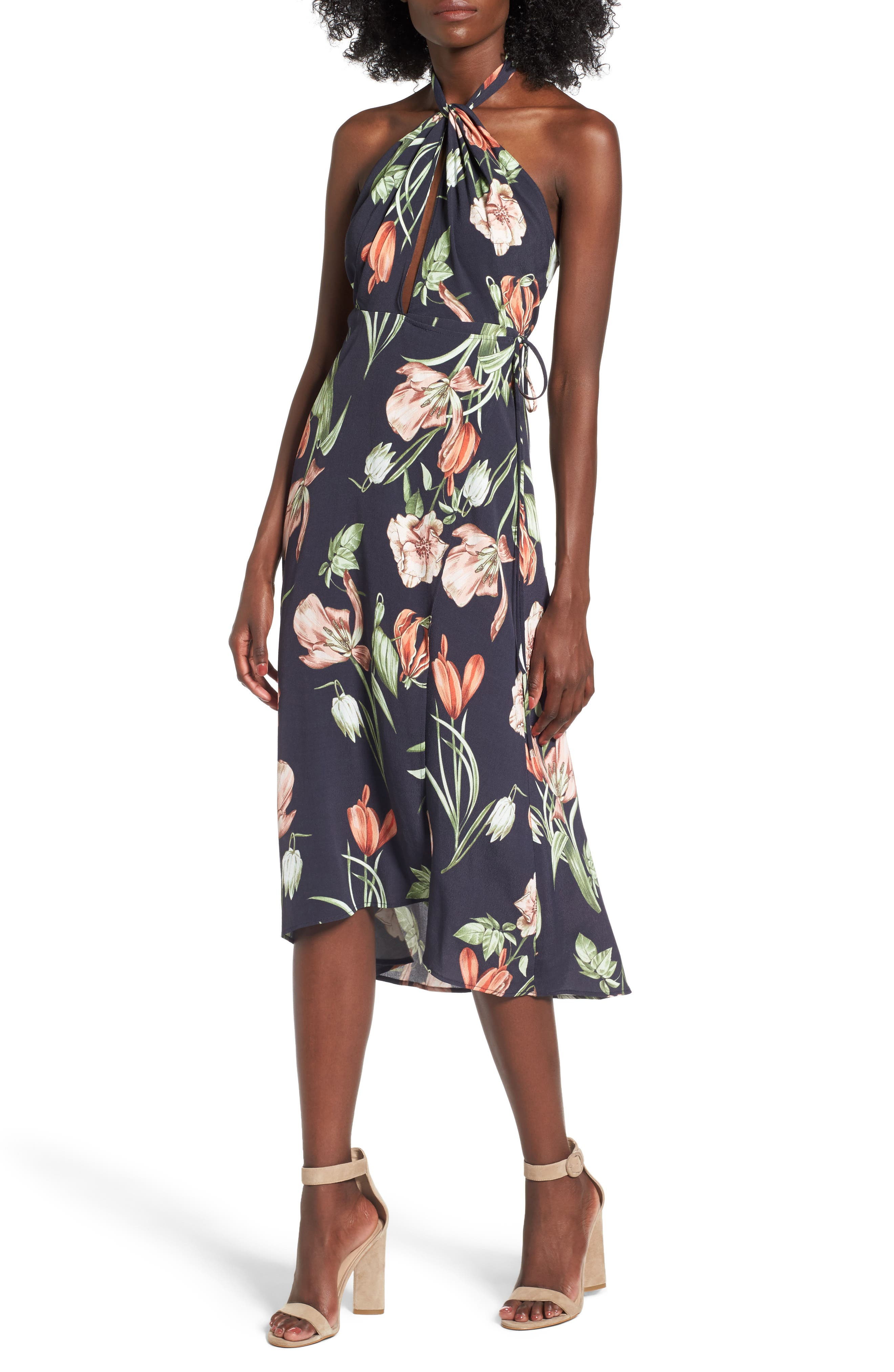 Luciana Halter Dress,                         Main,                         color, Black Multi Floral