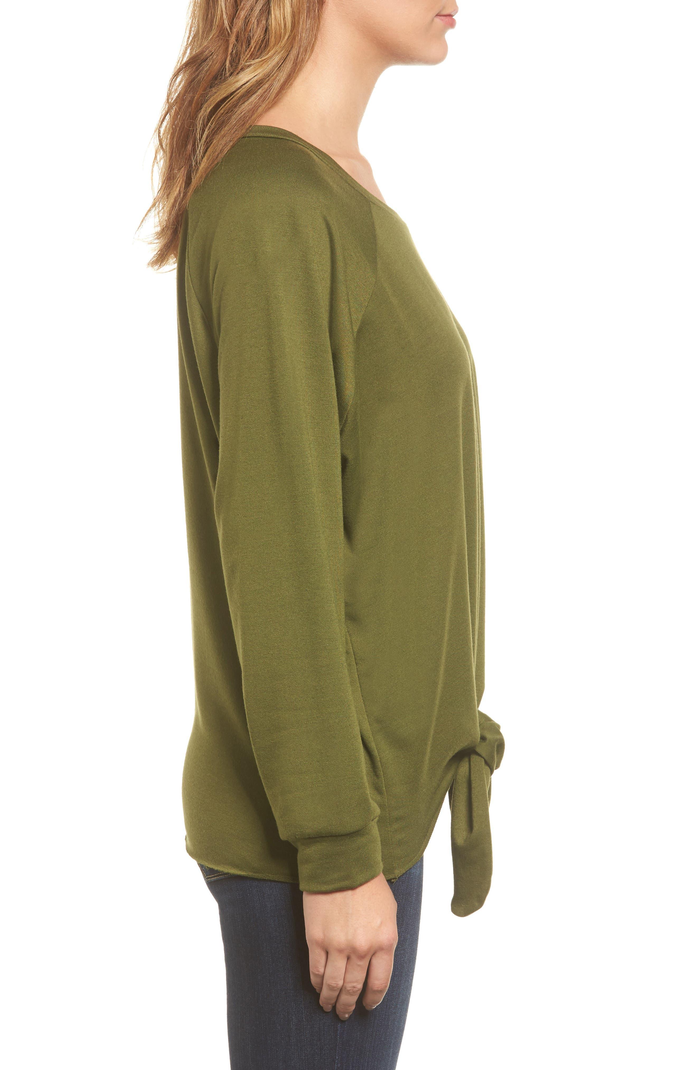 Alternate Image 3  - Caslon® Tie Front Sweatshirt (Regular & Petite)