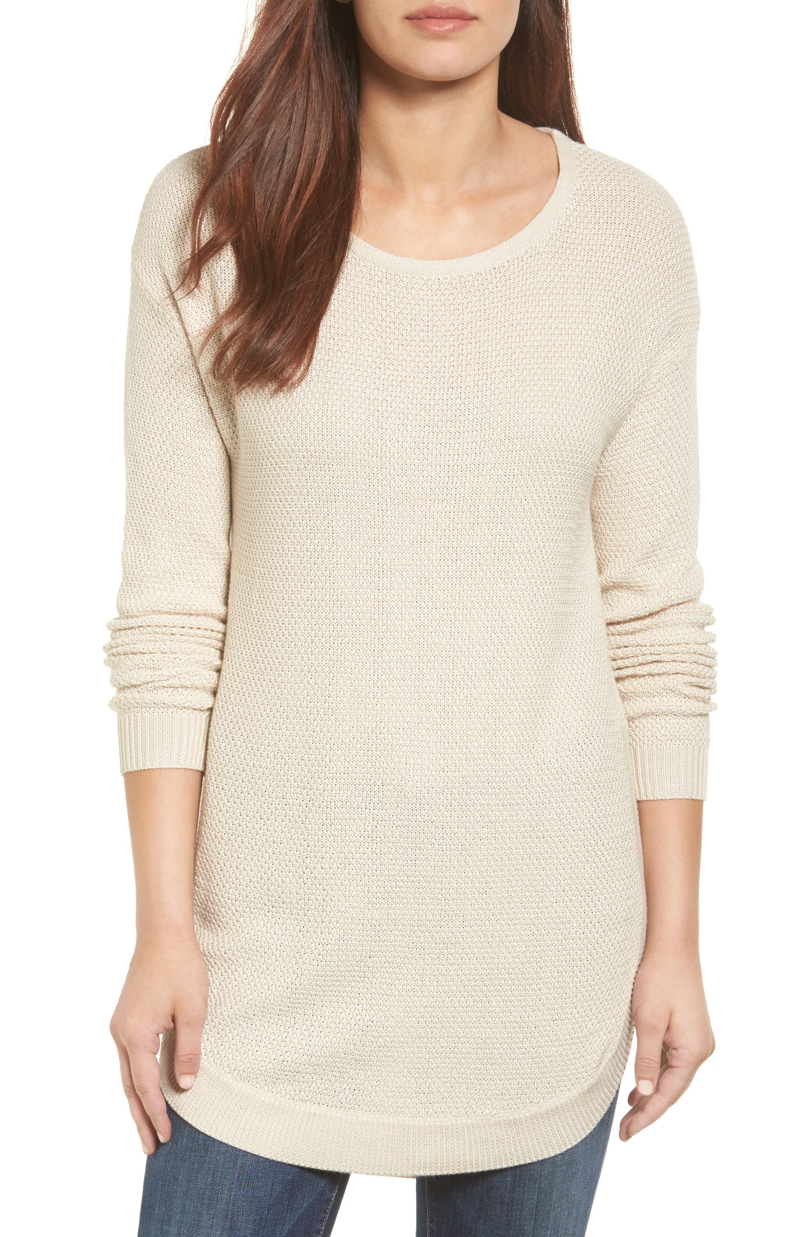 Caslon® Texture Knit Tunic (Regular & Petite)