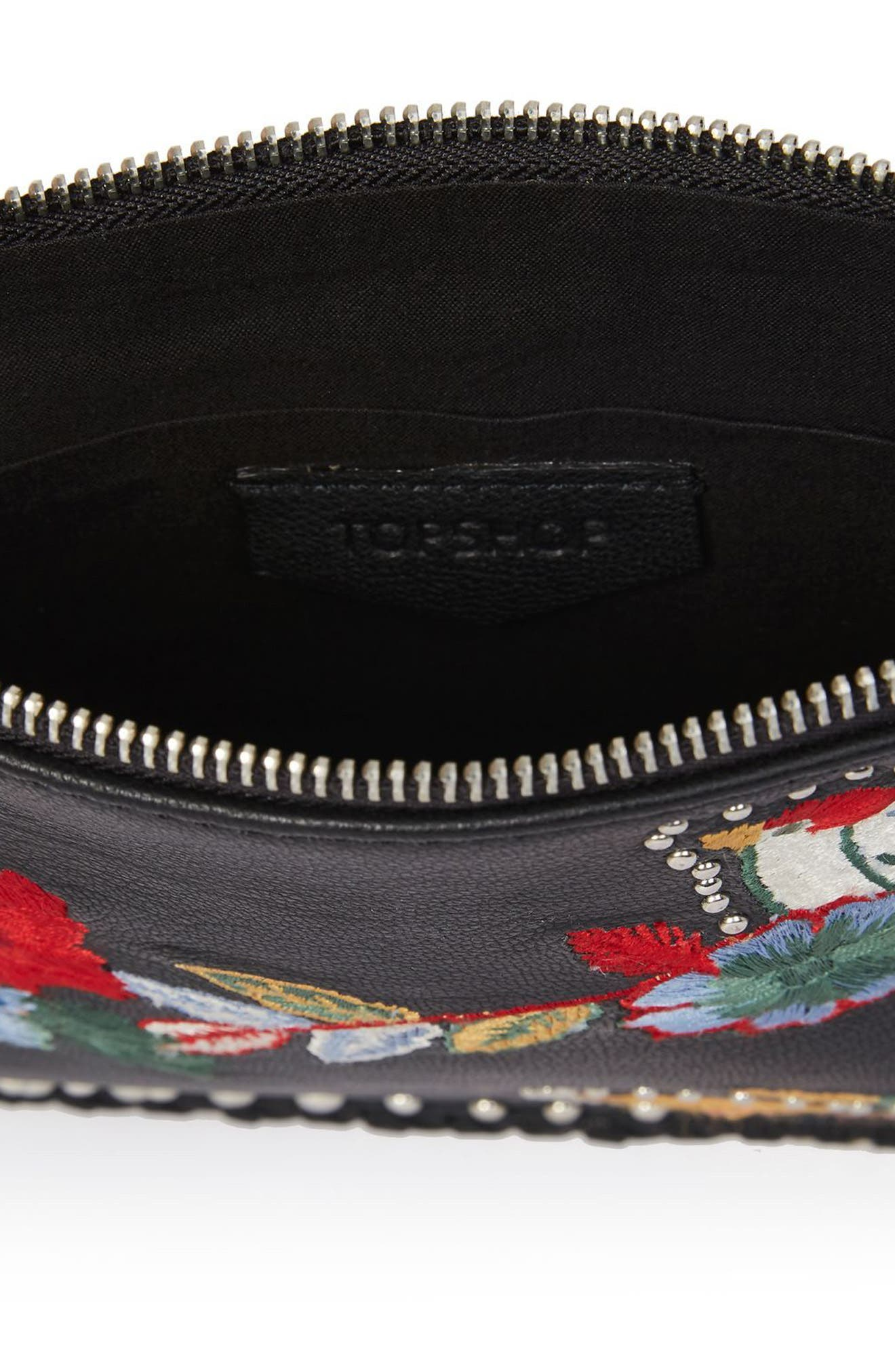Alternate Image 4  - Topshop Oto Embroidered Leather Crossbody Bag