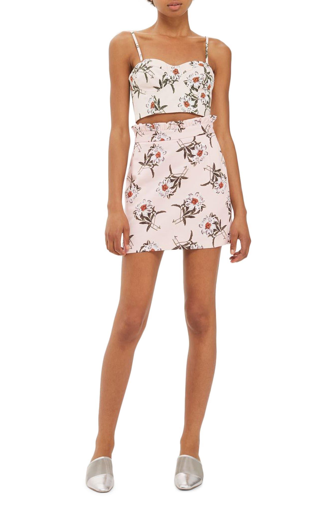 Daisy Print Miniskirt,                         Main,                         color, Light Pink Multi