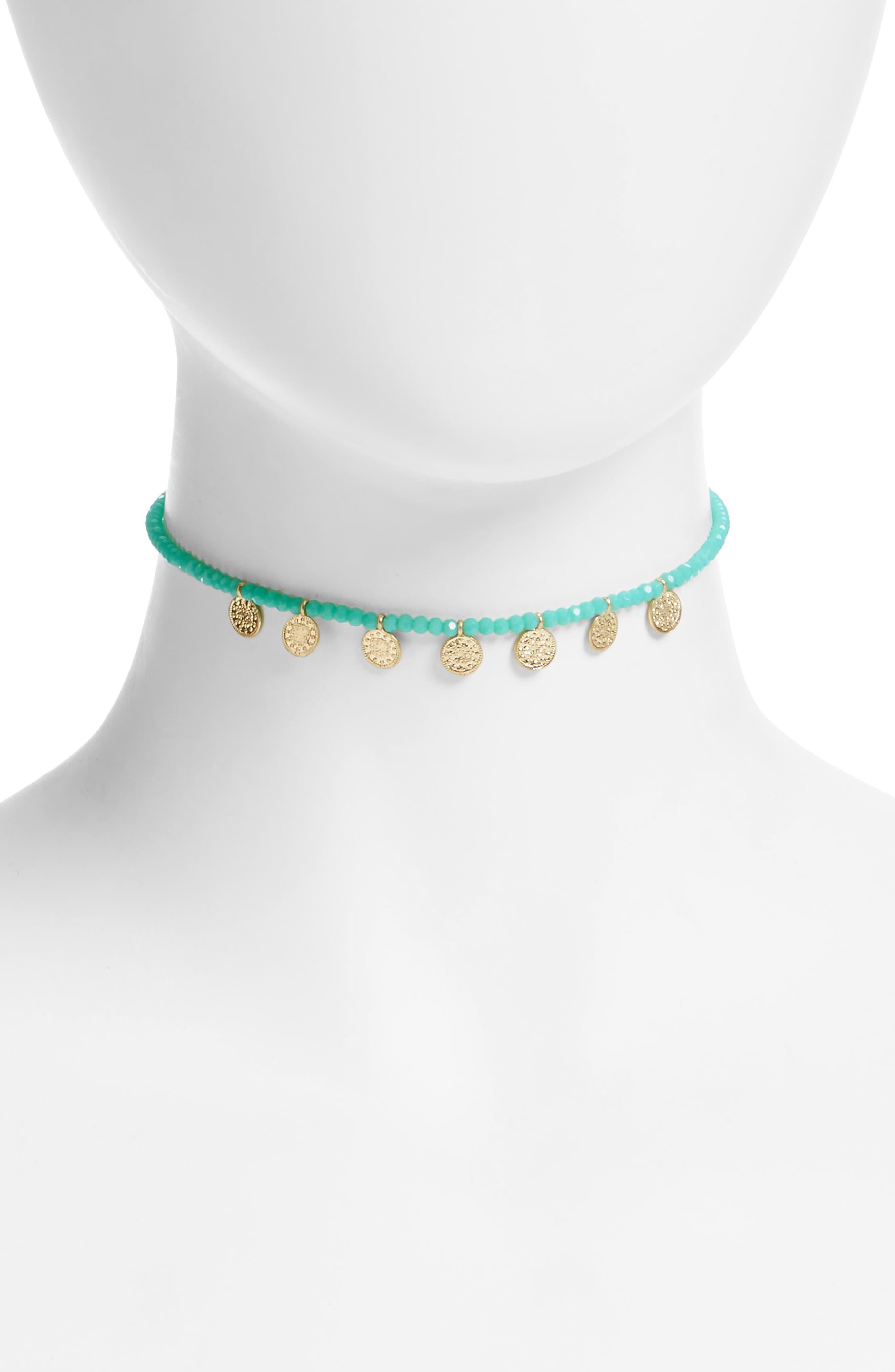 Canvas Disc Necklace,                         Main,                         color, Turquoise