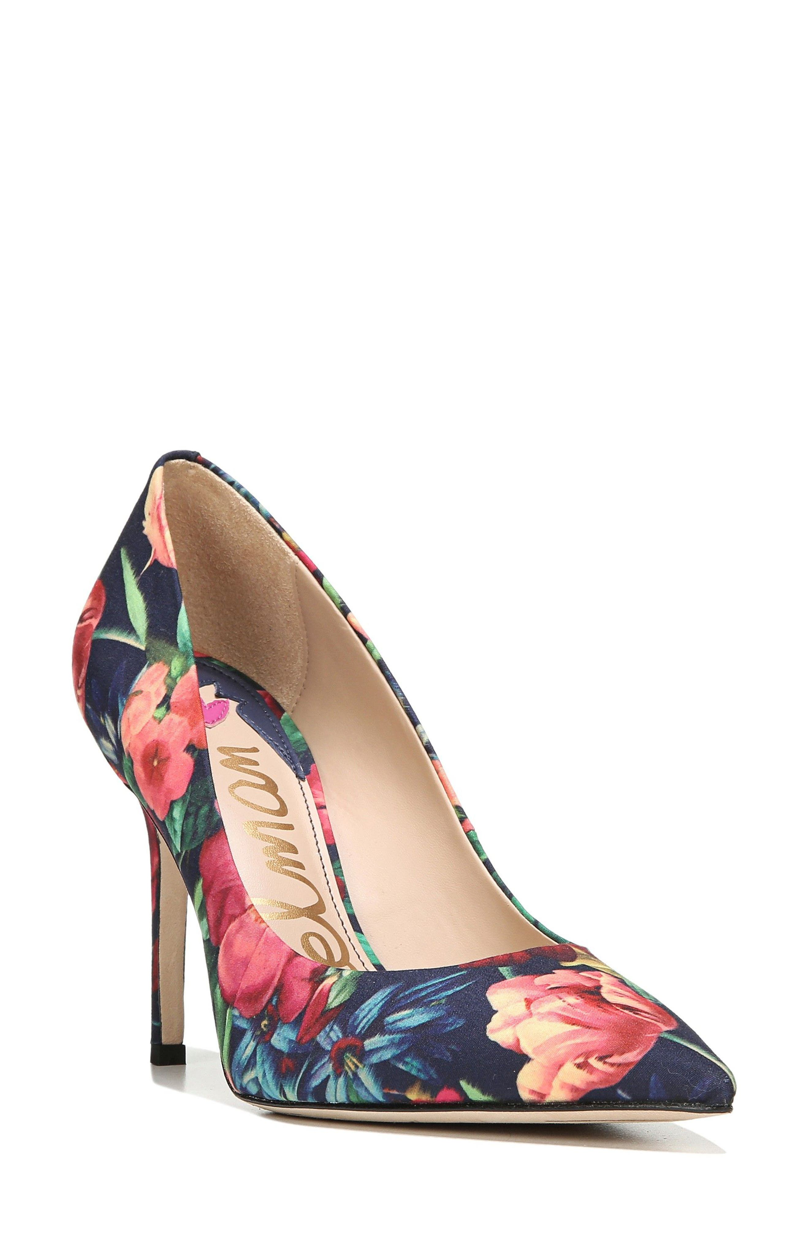 Hazel Pump,                             Main thumbnail 1, color,                             Navy Floral Fabric
