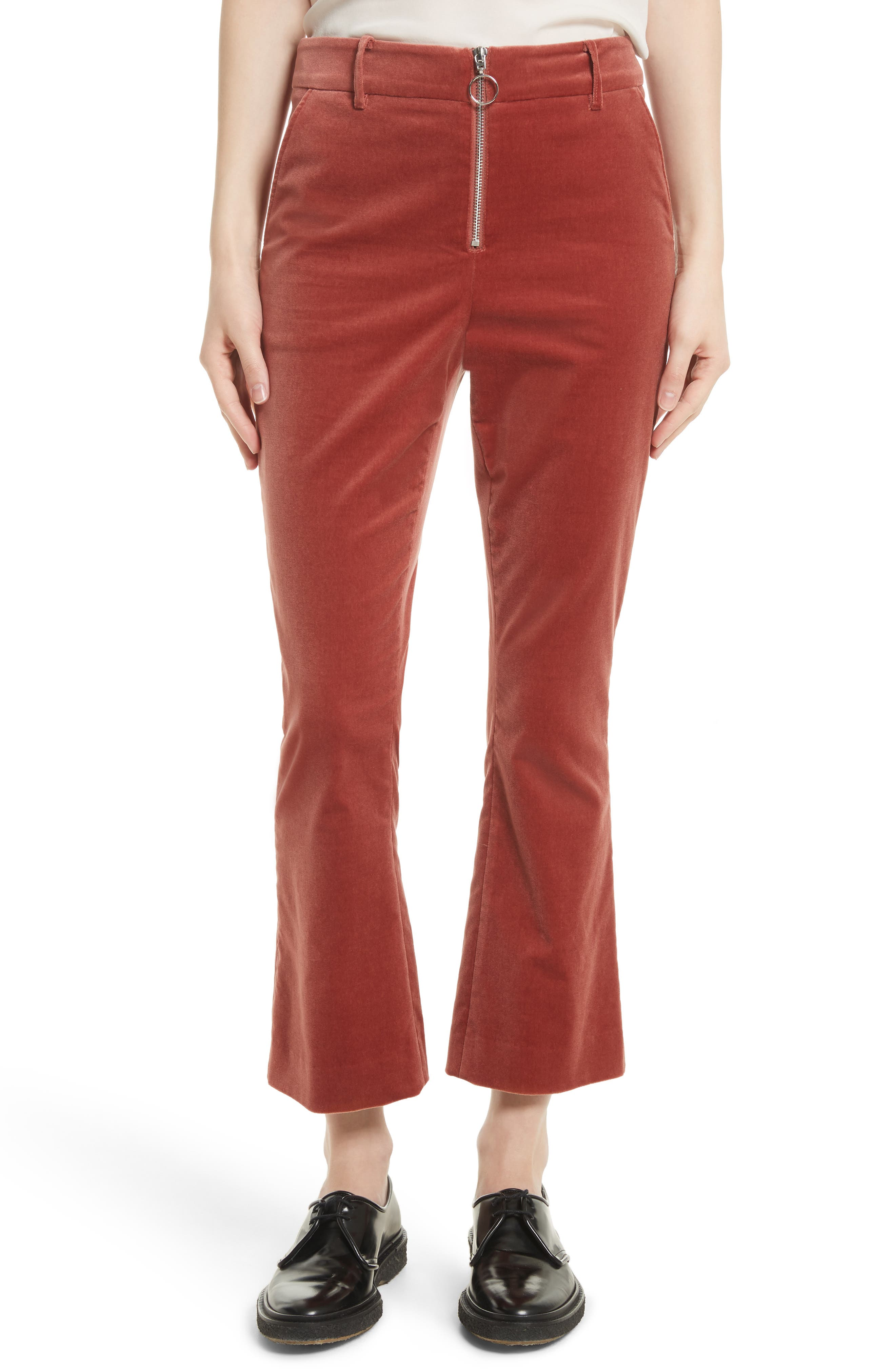 O-Ring Velvet Crop Flare Pants,                             Main thumbnail 1, color,                             Spice