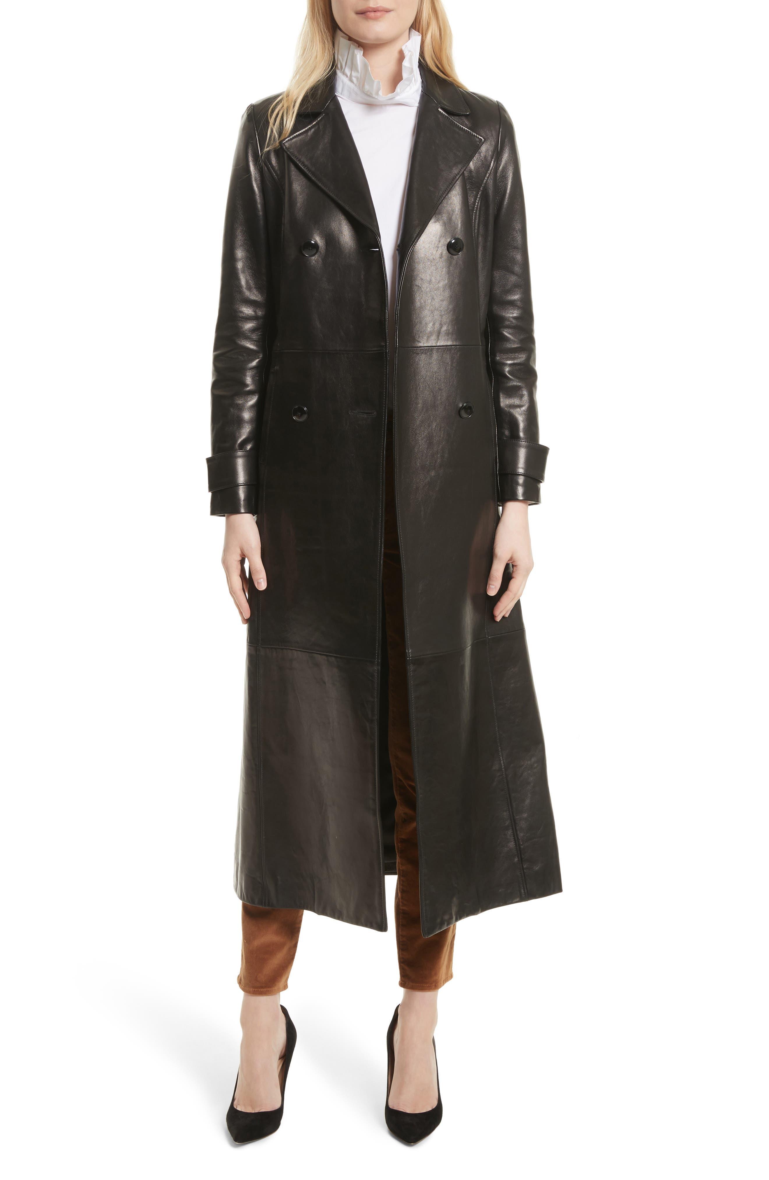 Leather Trench Coat,                             Alternate thumbnail 6, color,                             Noir