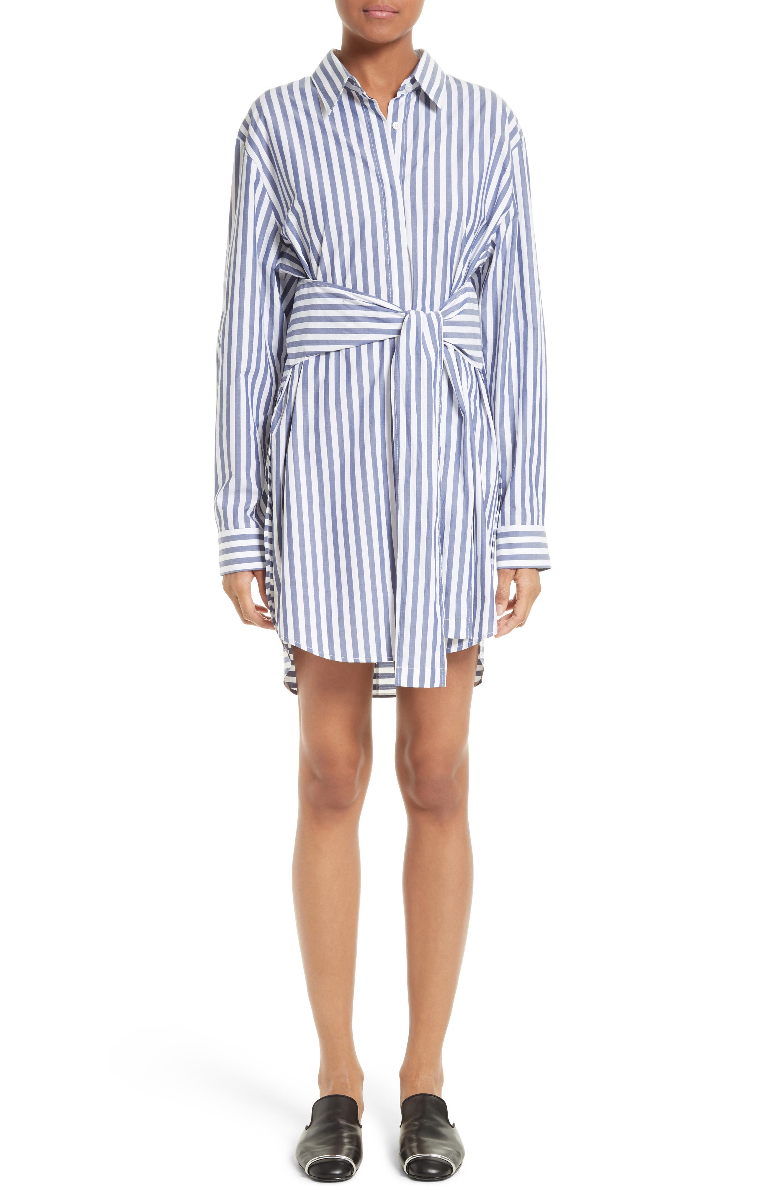 Stripe Tie Front Shirtdress,                         Main,                         color, White With Blue Stripe