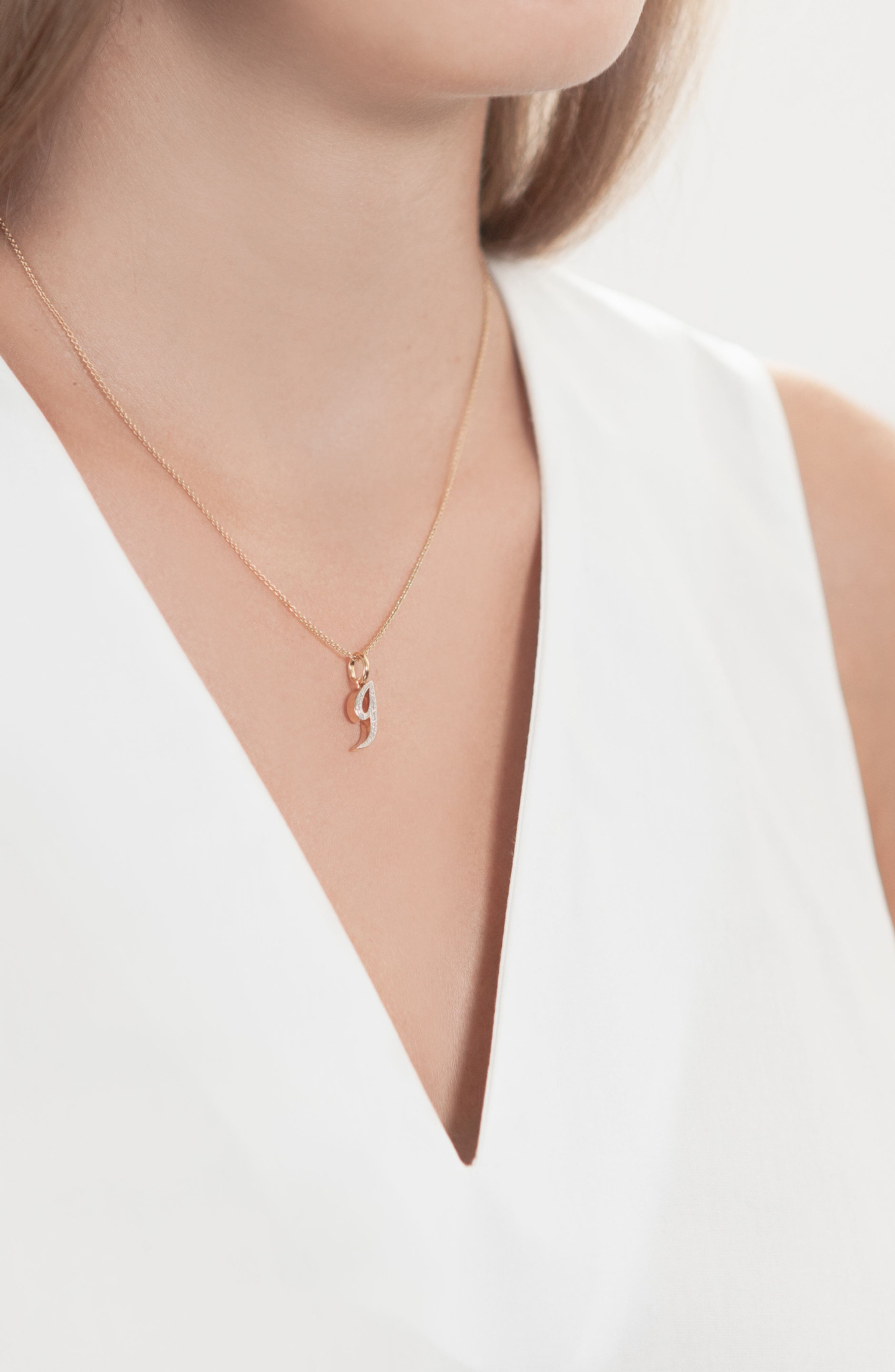 Alphabet Diamond Pavé Pendant,                             Alternate thumbnail 2, color,                             Gold/ Diamond- G