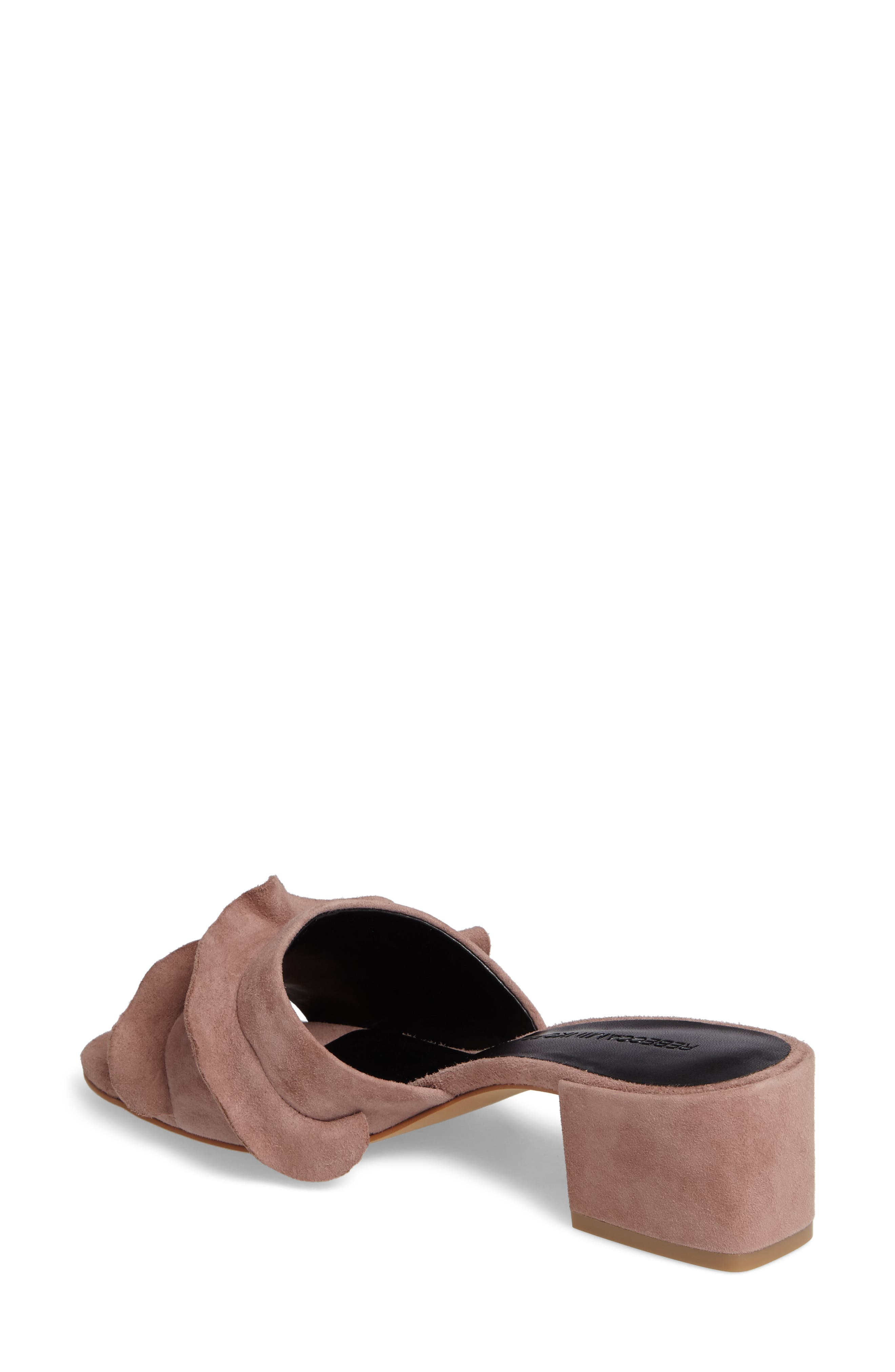 Isabelle Ruffle Mule Sandal,                             Alternate thumbnail 2, color,                             Berry Smoothie Suede