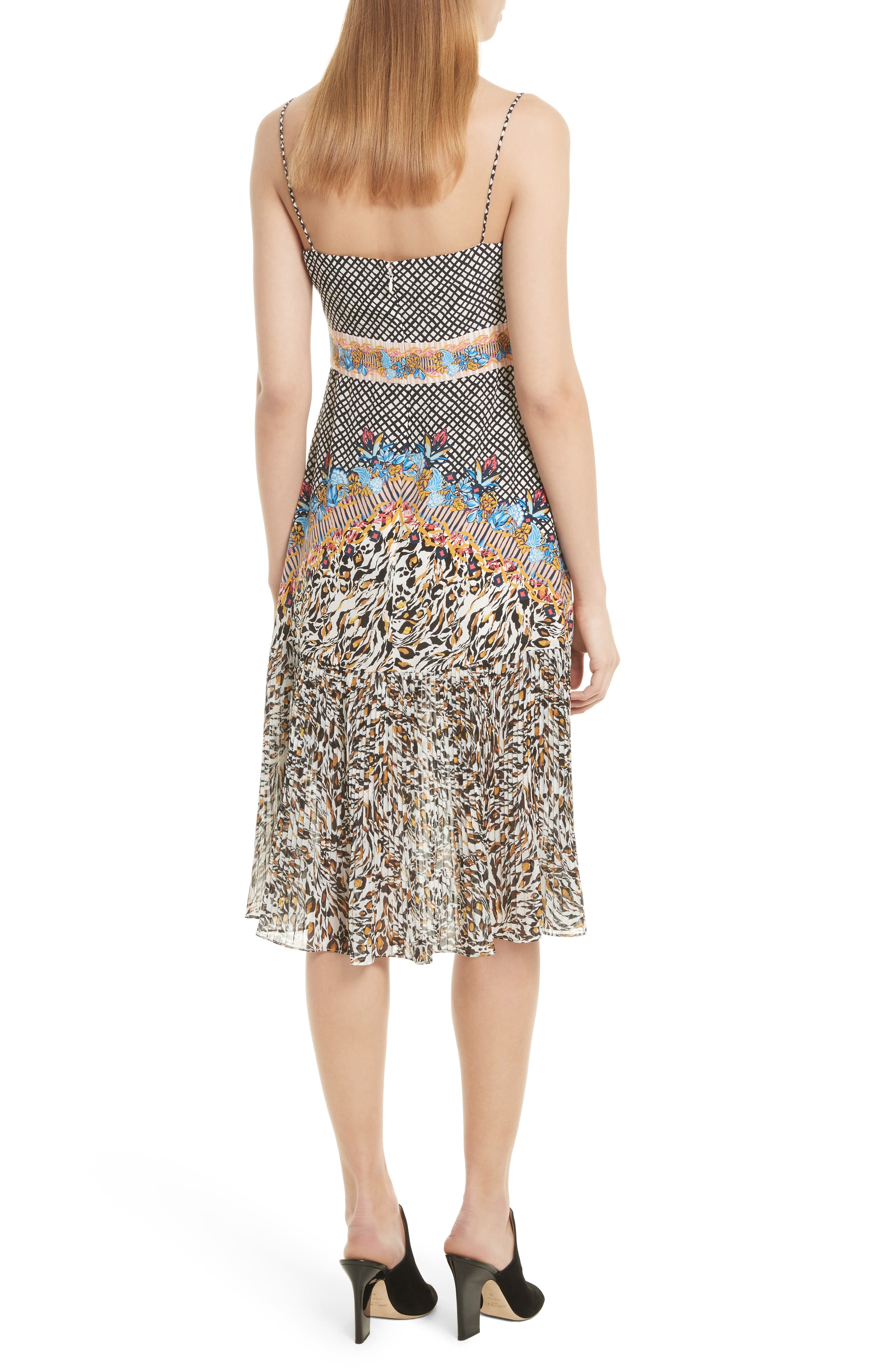 Veronica Print Silk Dress,                             Alternate thumbnail 2, color,                             Mustard Leopard