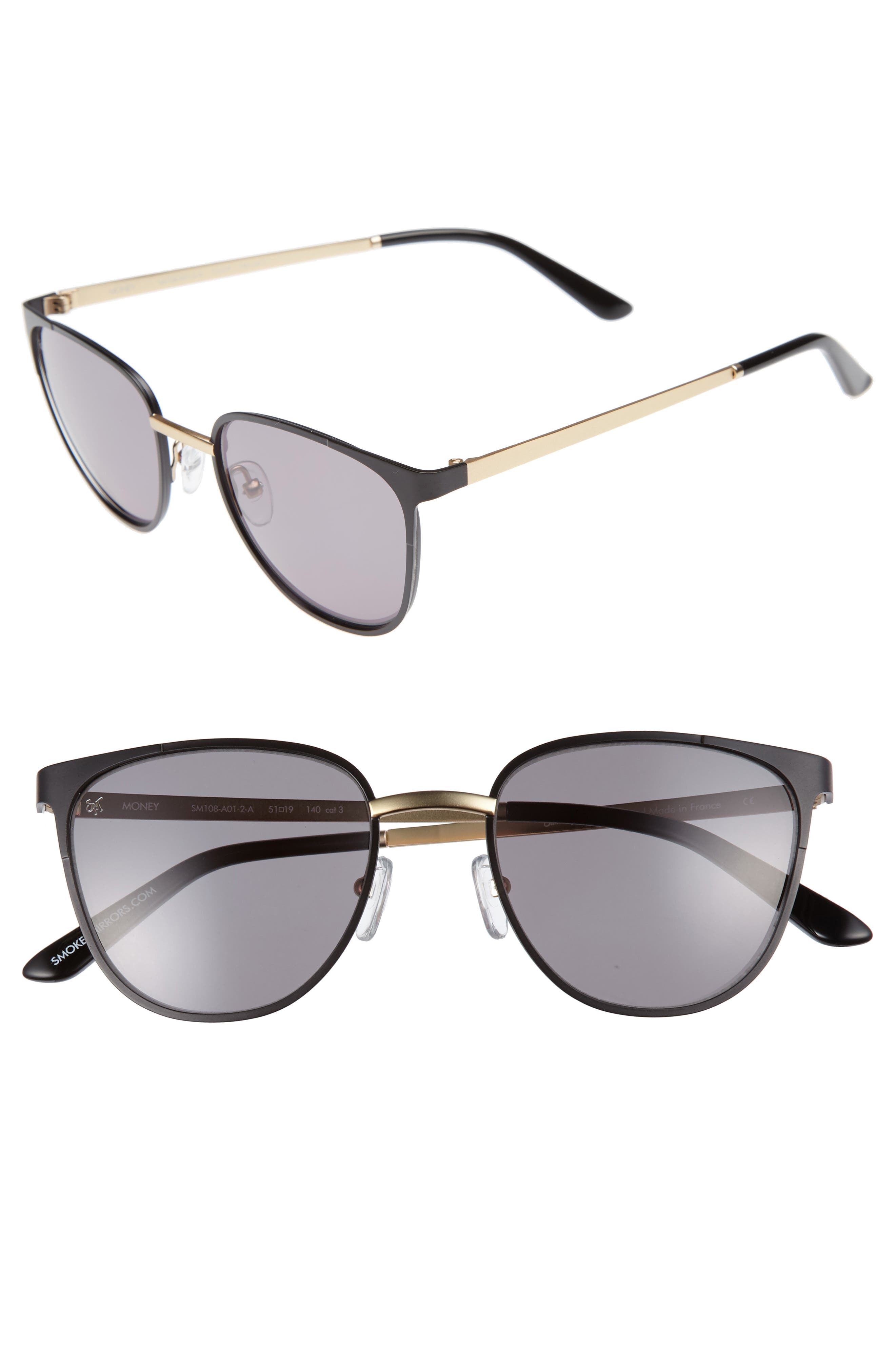 Money 51mm Sunglasses,                         Main,                         color, Matte Black/ Brown