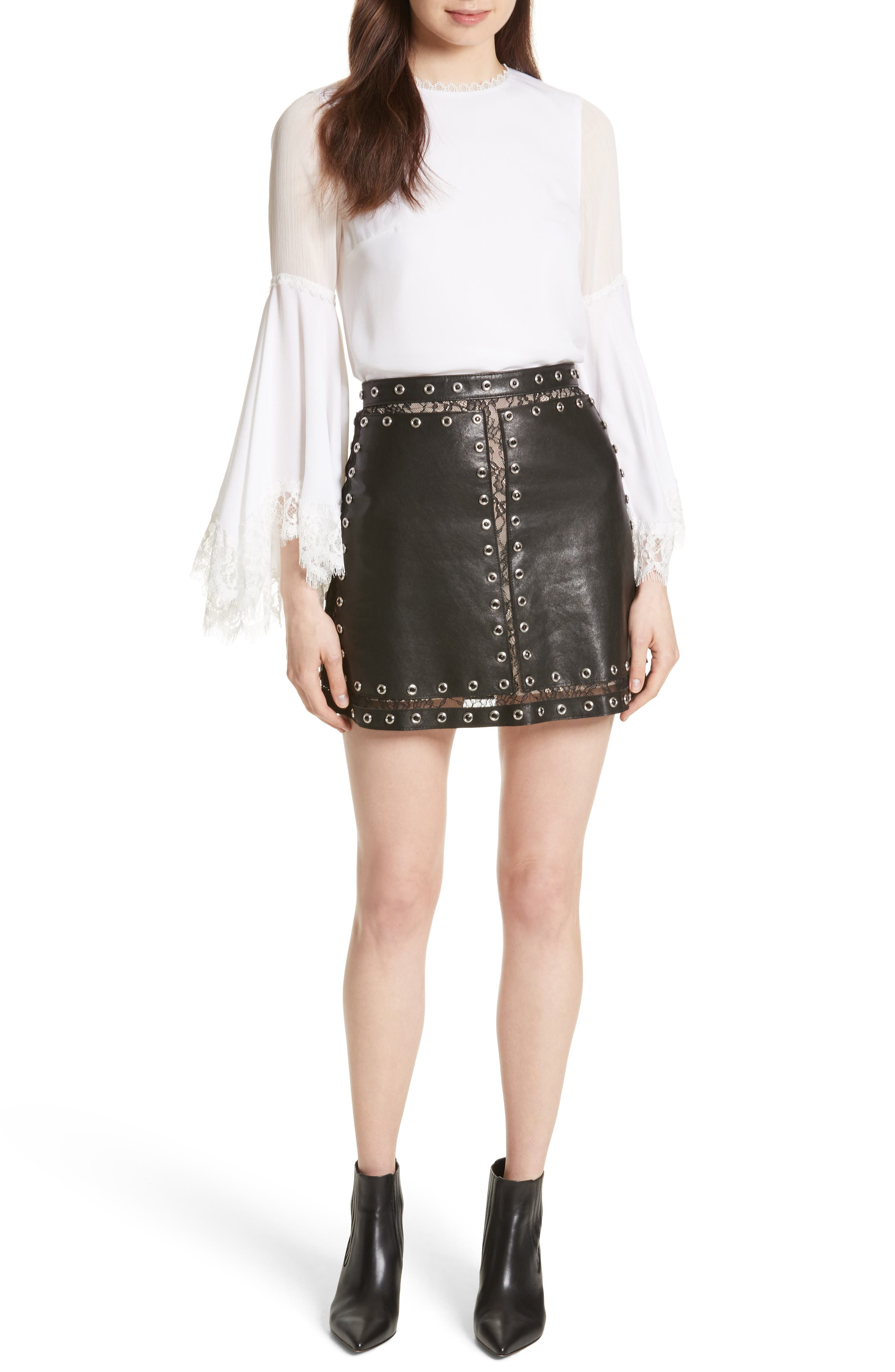Riley Studded Leather Mini Skirt,                             Alternate thumbnail 6, color,                             Black