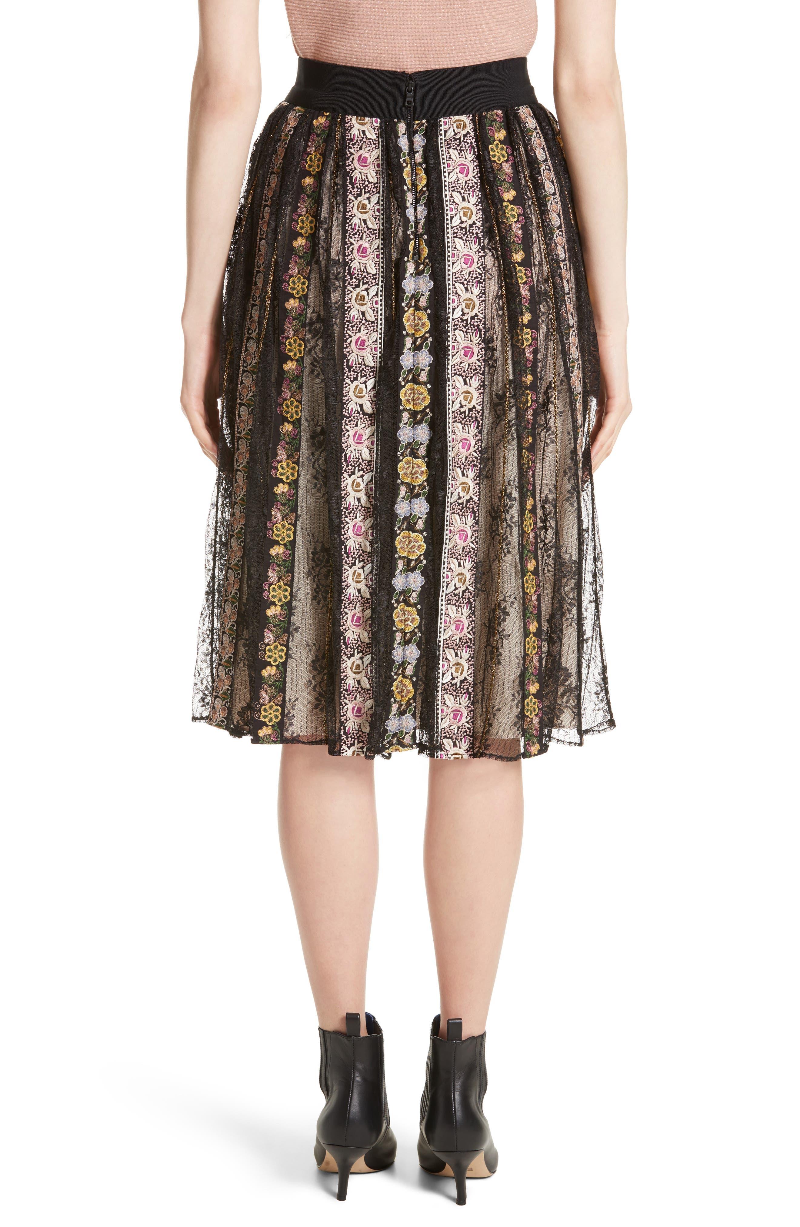 Alternate Image 2  - Alice + Olivia Birdie Flower Embroidered Skirt
