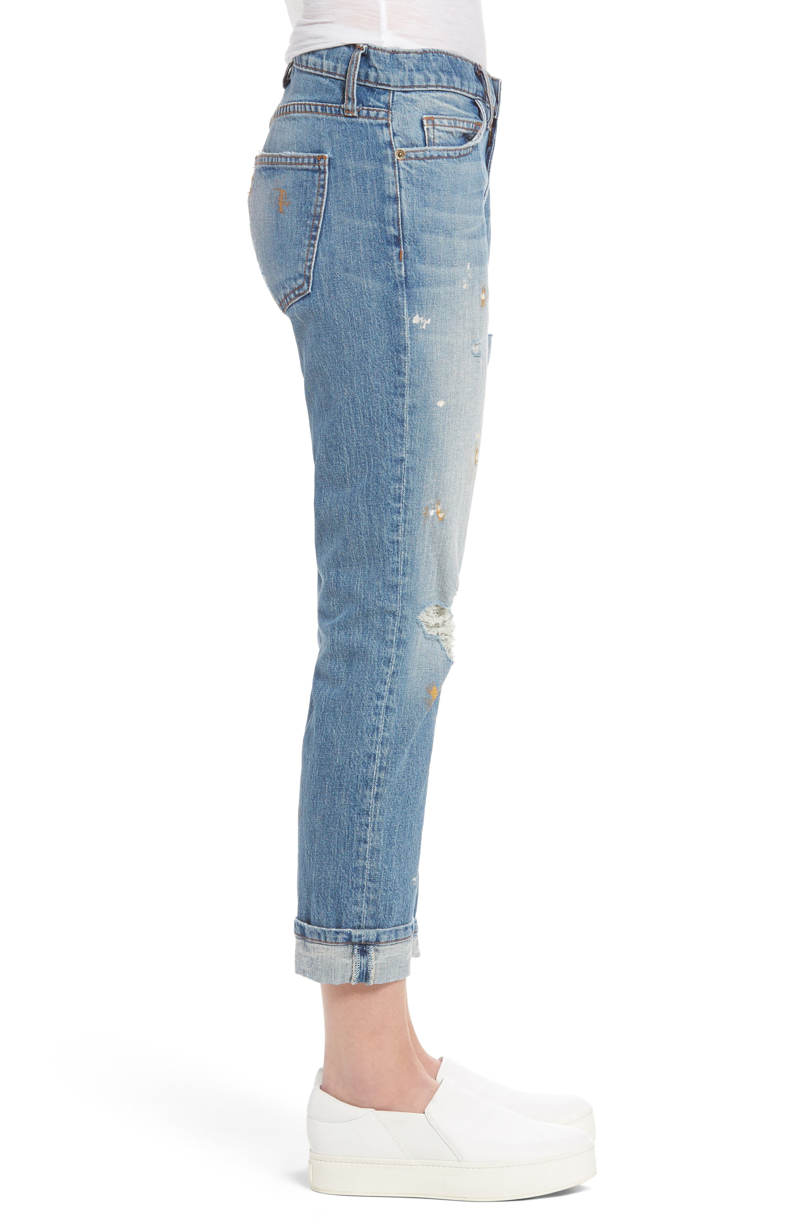 Fling Distressed Rolled Jeans,                             Alternate thumbnail 3, color,                             Bolero