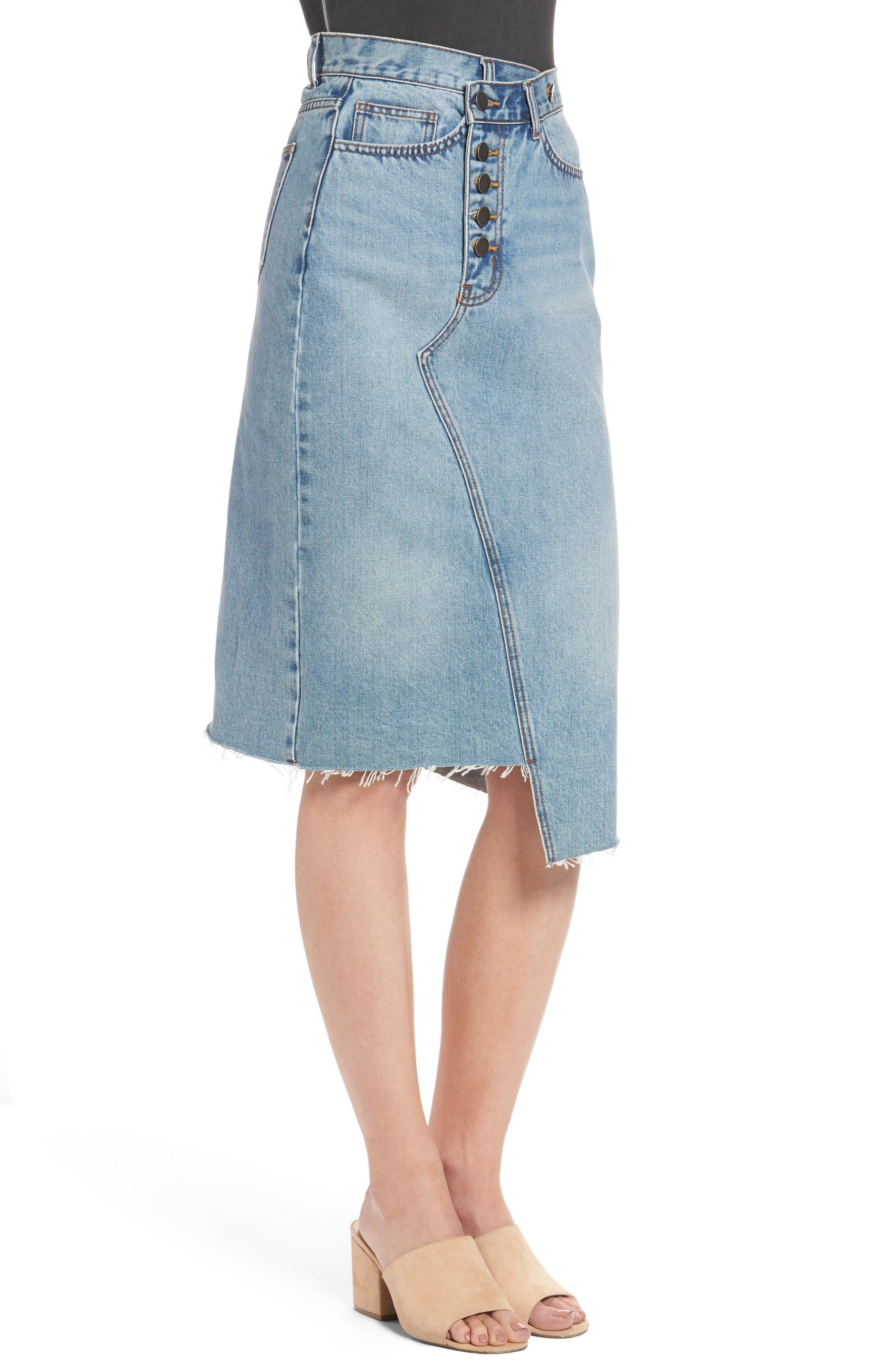 Asymmetrical Denim Pencil Skirt,                             Alternate thumbnail 4, color,                             Light Blue