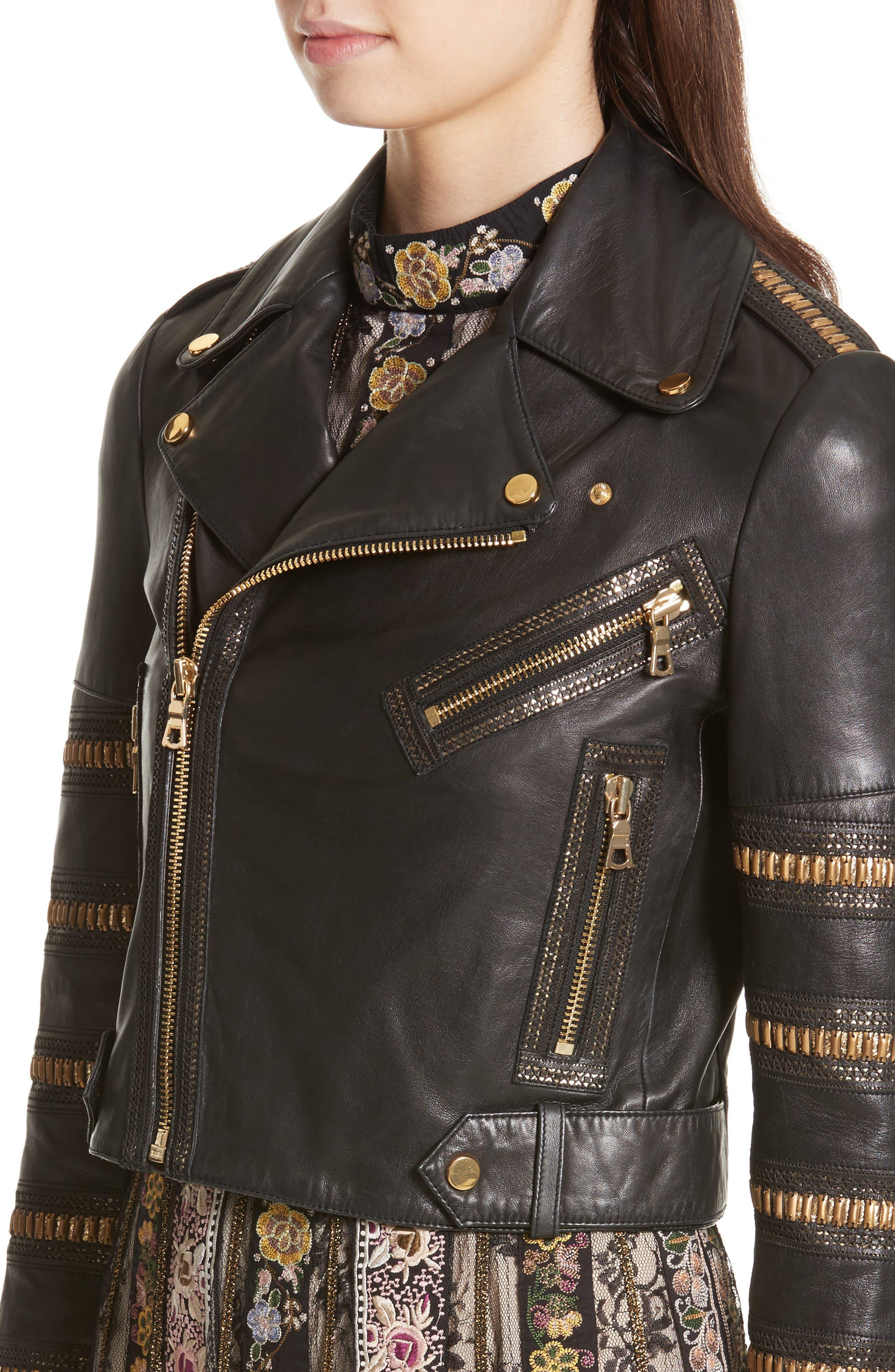 Alternate Image 4  - Alice + Olivia Cody Embellished Leather Moto Jacket