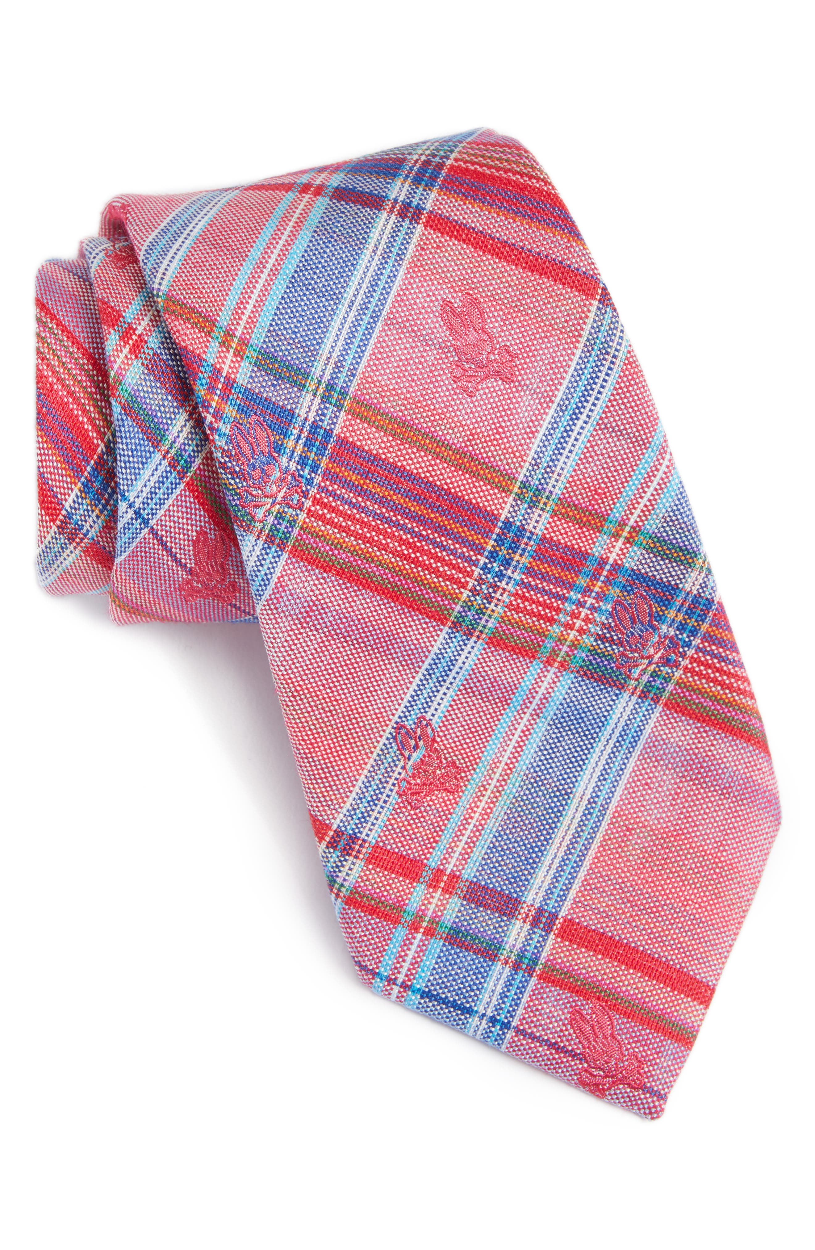 Plaid Bunny Silk Tie,                             Main thumbnail 1, color,                             Punch