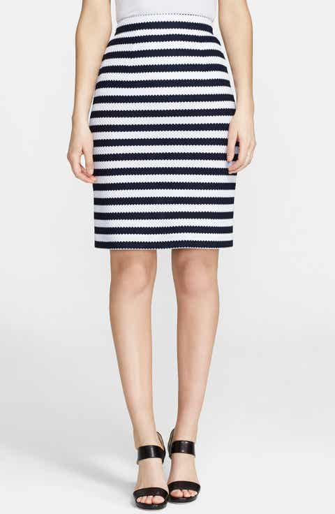 Diane von Furstenberg 'Walda' Stripe Knit Cotton Skirt
