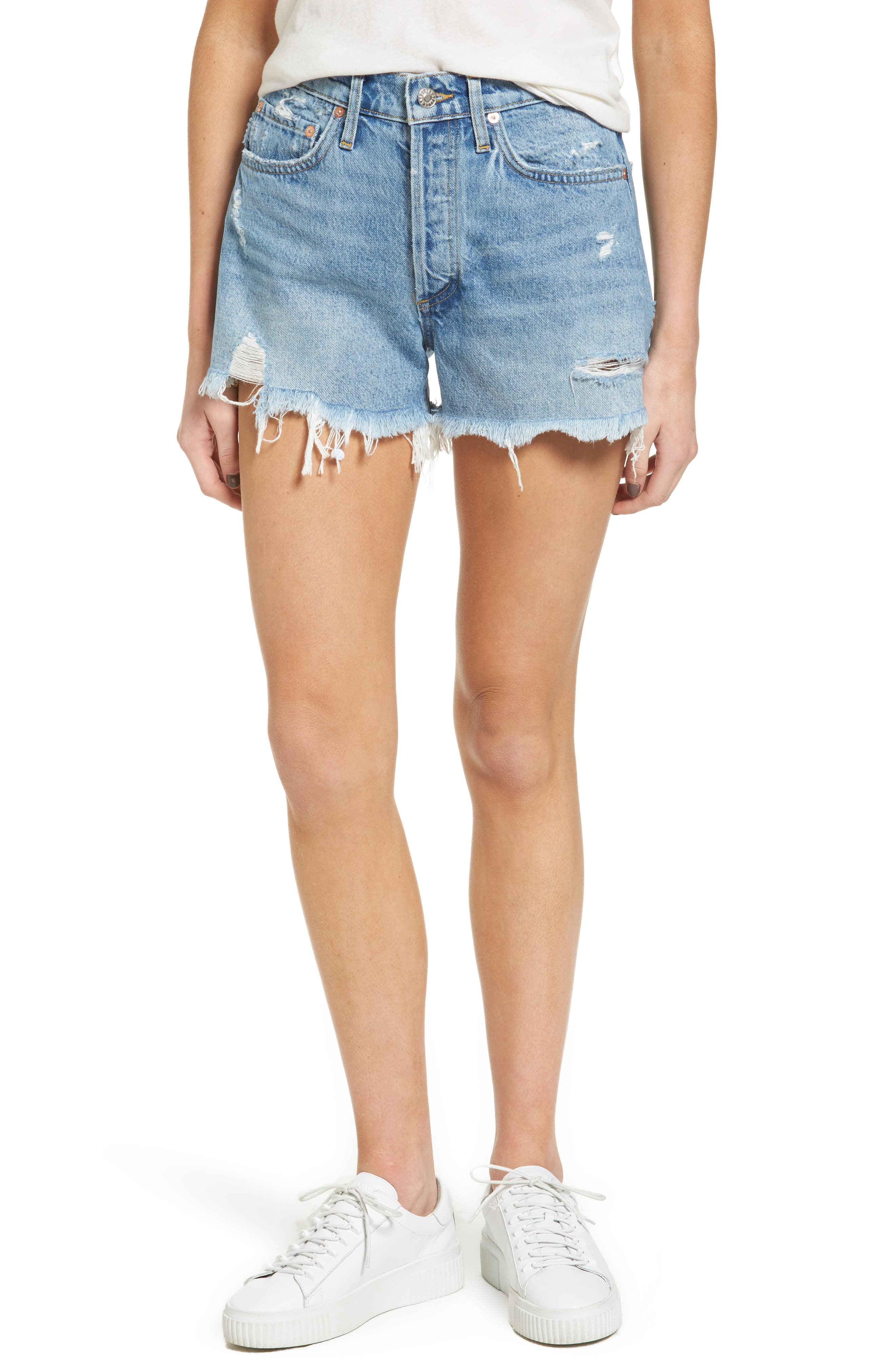Parker Distressed Denim Shorts,                             Main thumbnail 1, color,                             Swapmeet