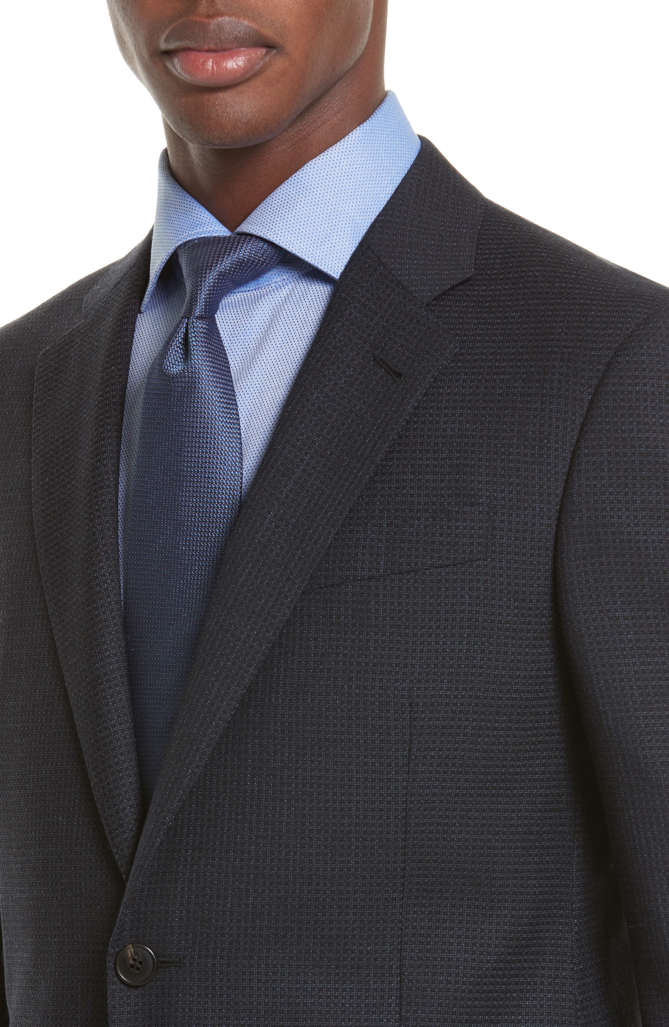 Trim Fit Check Wool Sport Coat,                             Alternate thumbnail 4, color,                             Navy