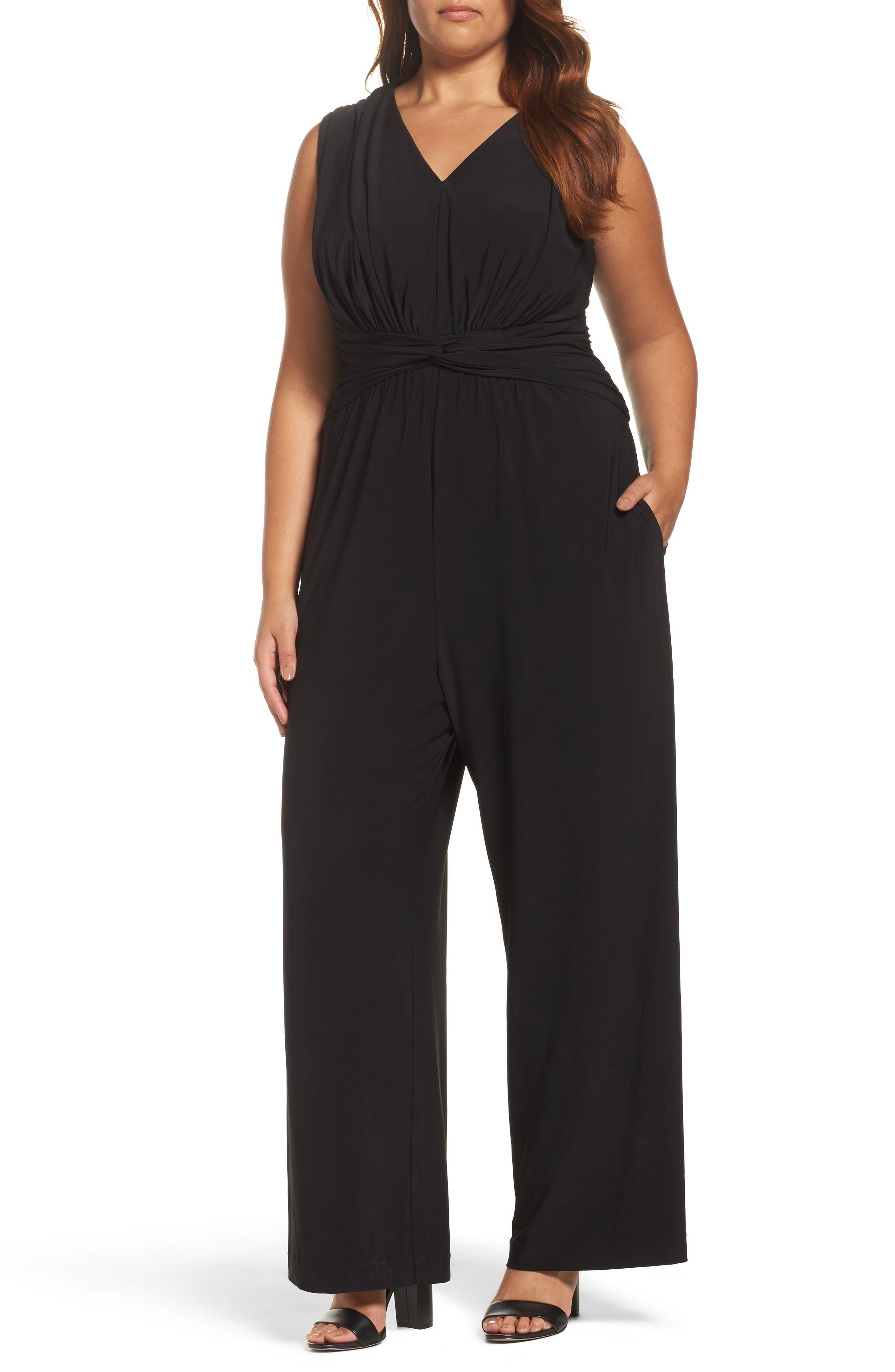 Eliza J Wide Leg Jersey Jumpsuit (Plus Size)