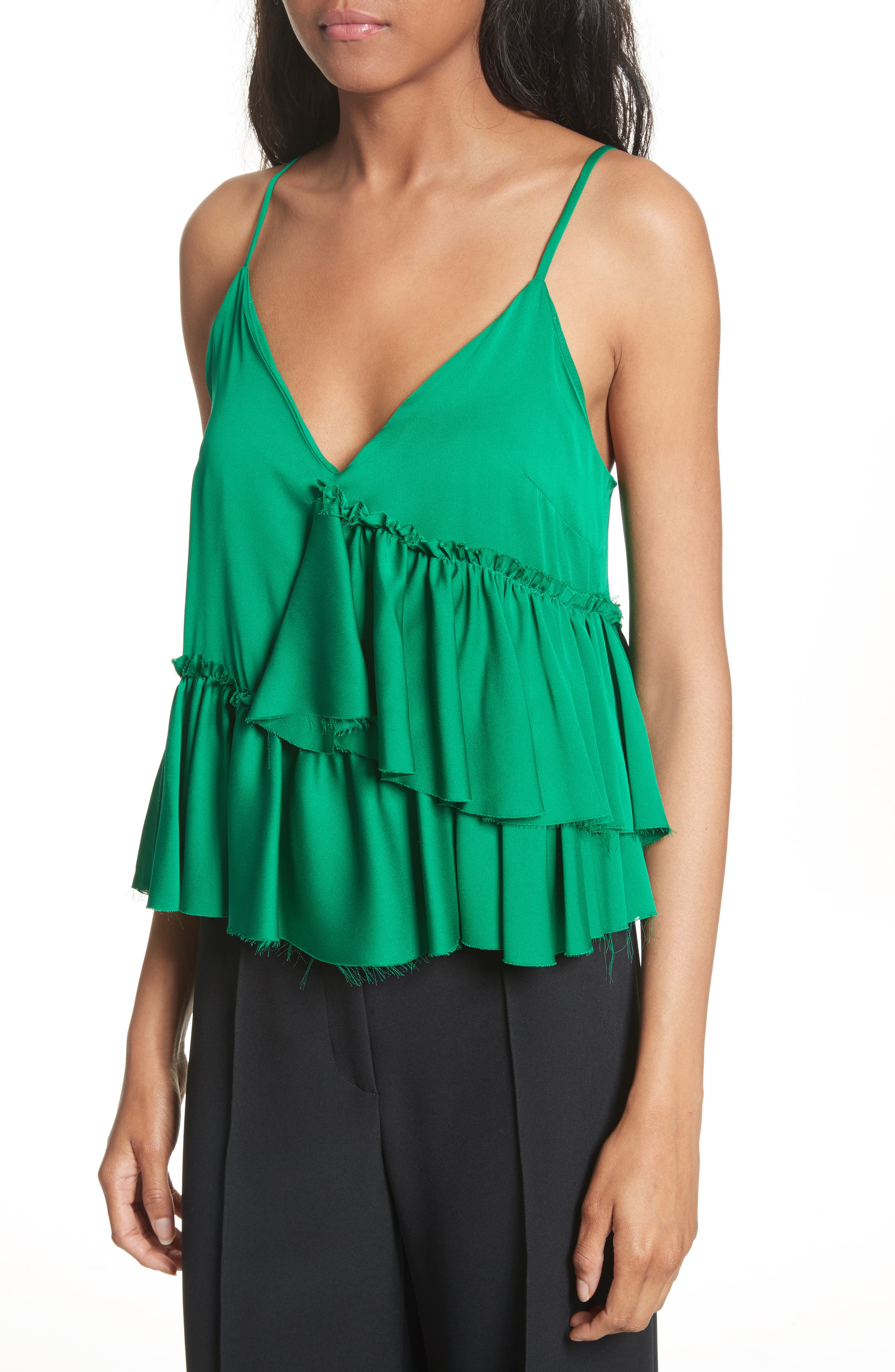 Alternate Image 3  - Milly Tiered Stretch Silk Camisole