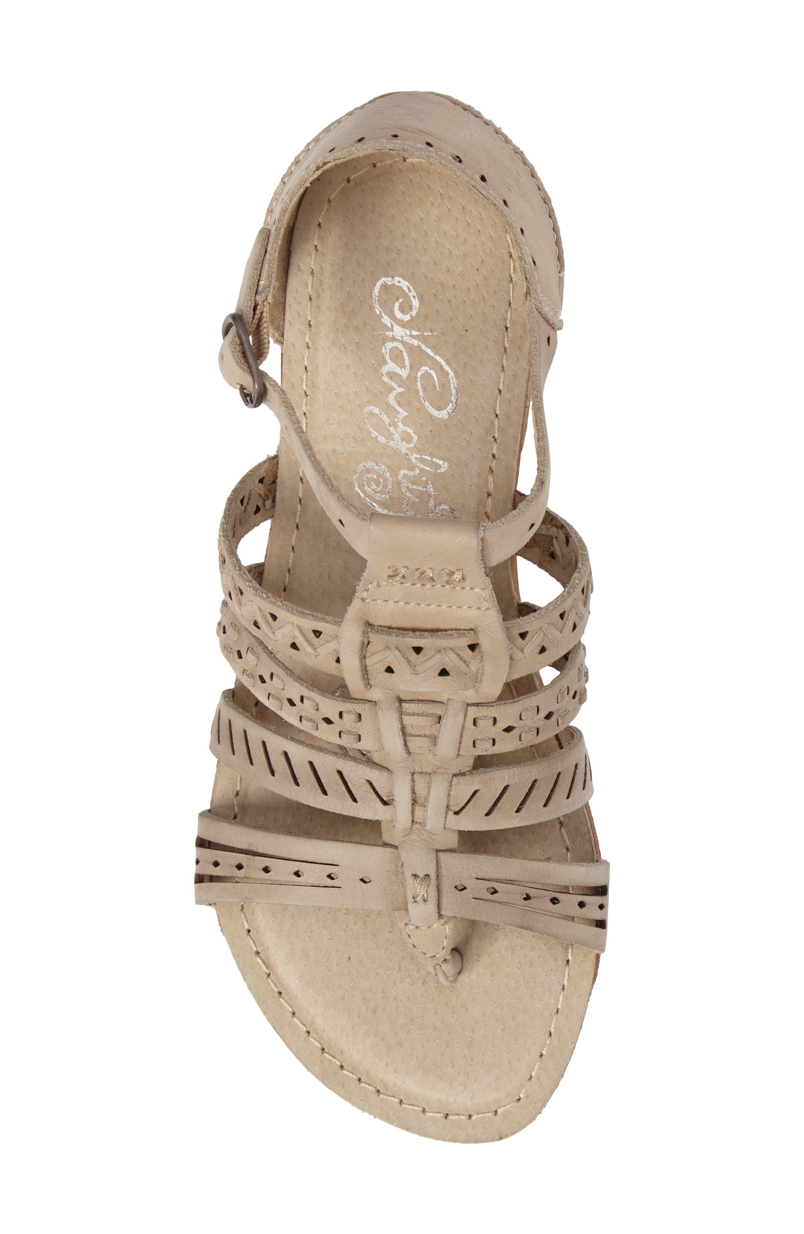 True Grit Perforated Sandal,                             Alternate thumbnail 5, color,                             Cream Leather