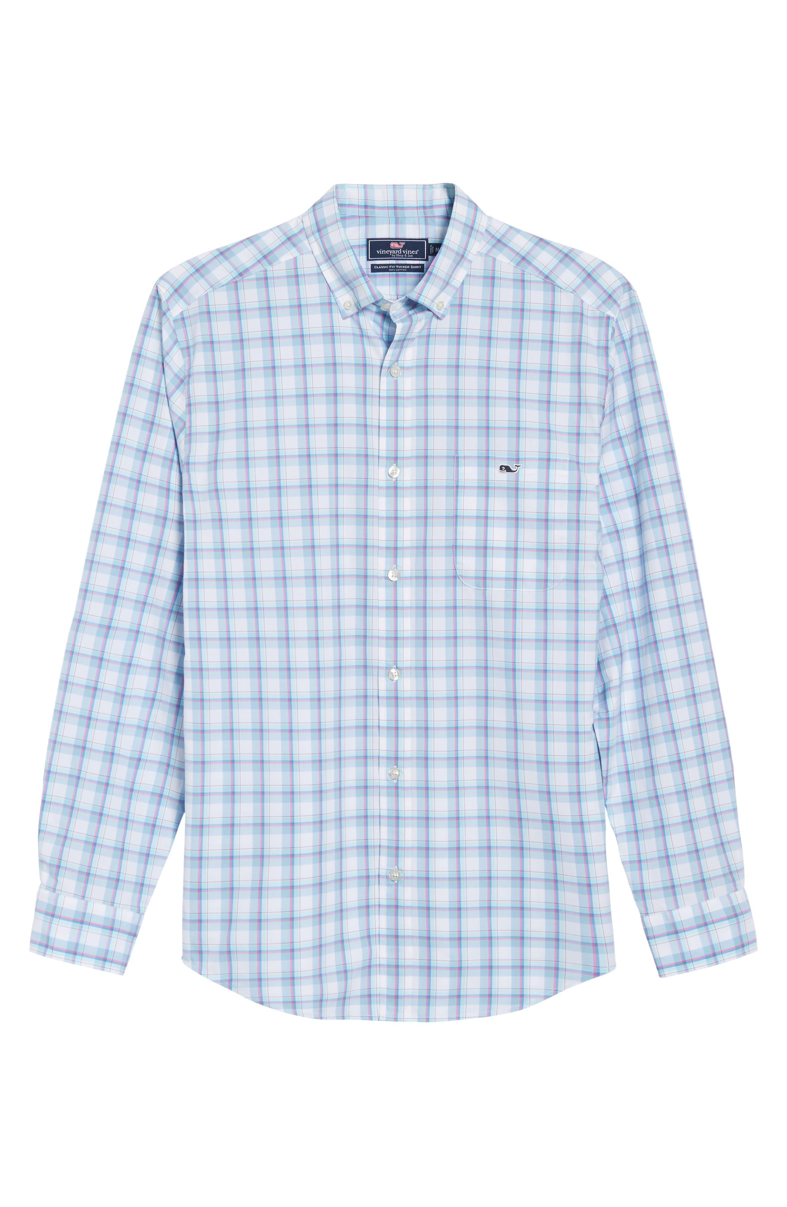 Plaid Classic Fit Sport Shirt,                             Alternate thumbnail 6, color,                             Jake Blue