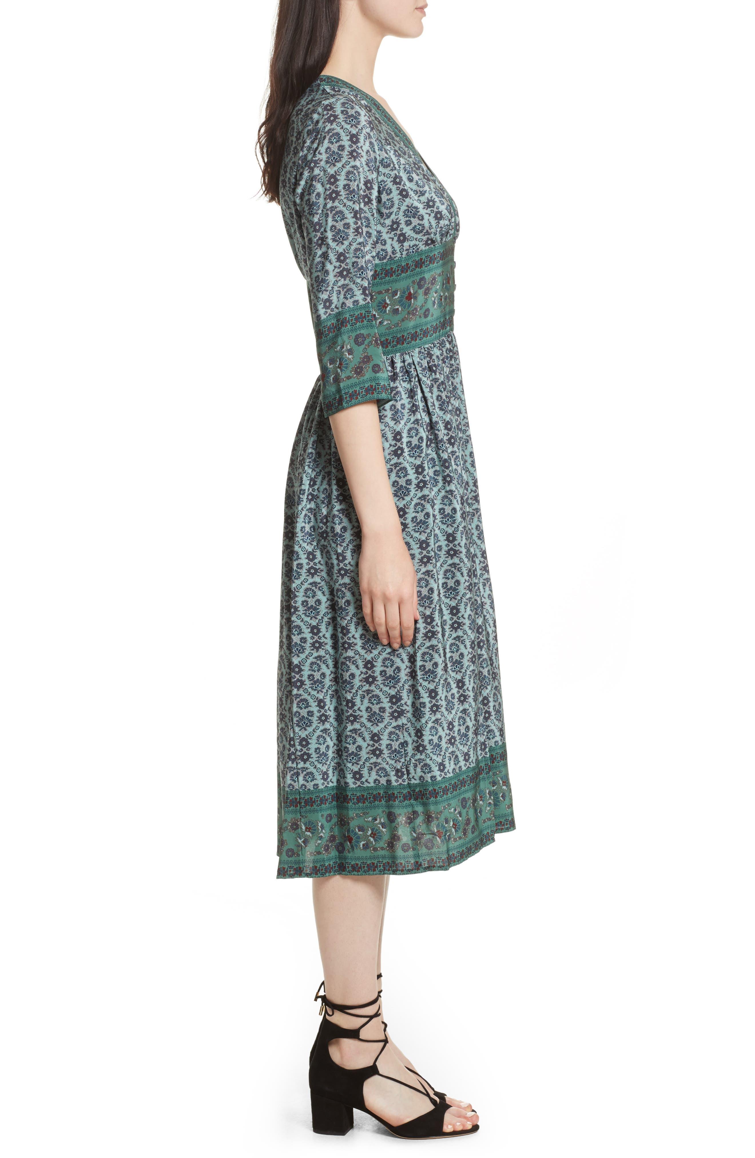 Print Silk Midi Dress,                             Alternate thumbnail 3, color,                             Jade
