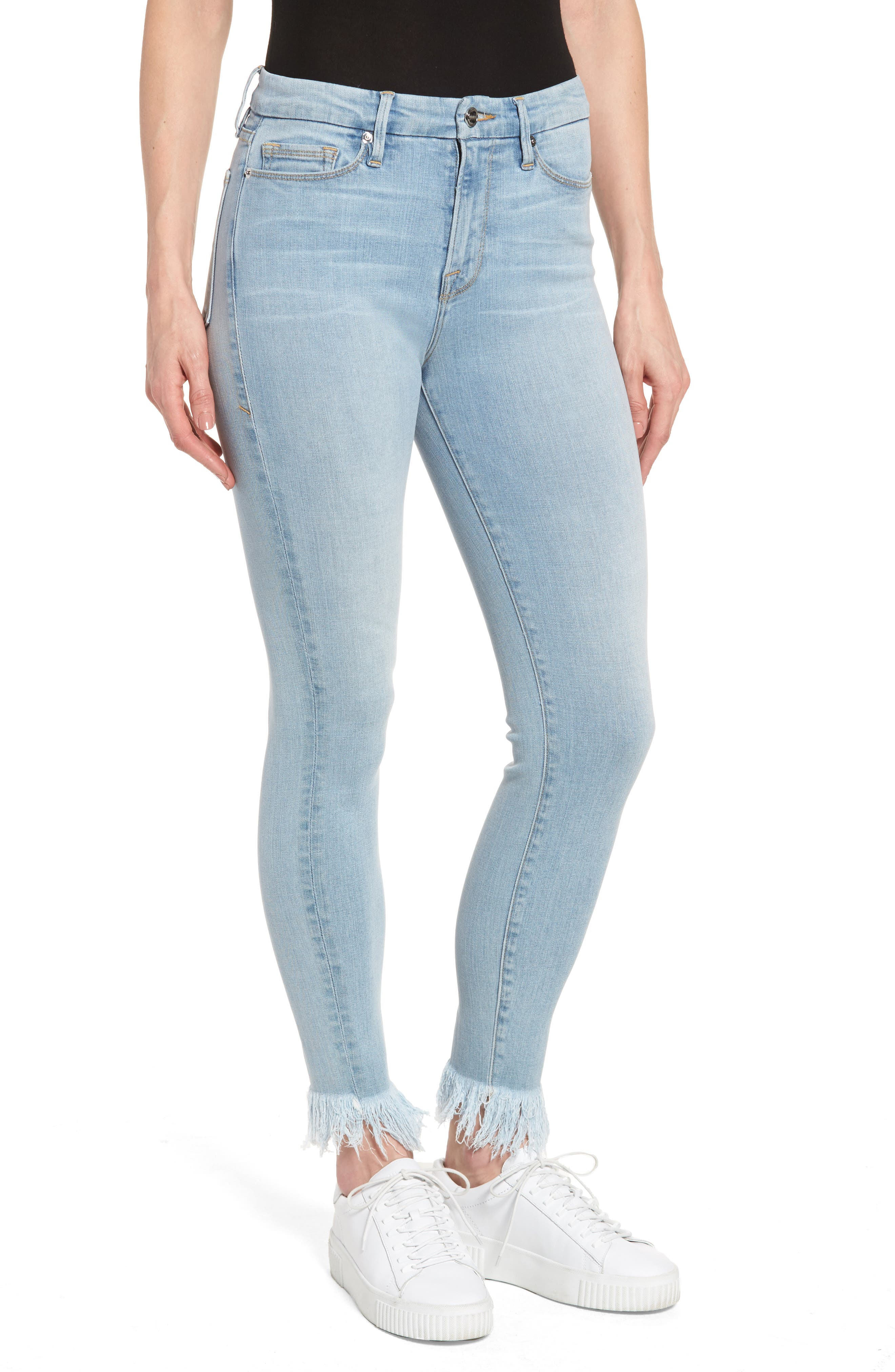 Main Image - Good American Good Waist High Waist Frayed Ankle Skinny Jeans (Blue 054) (Extended Sizes)