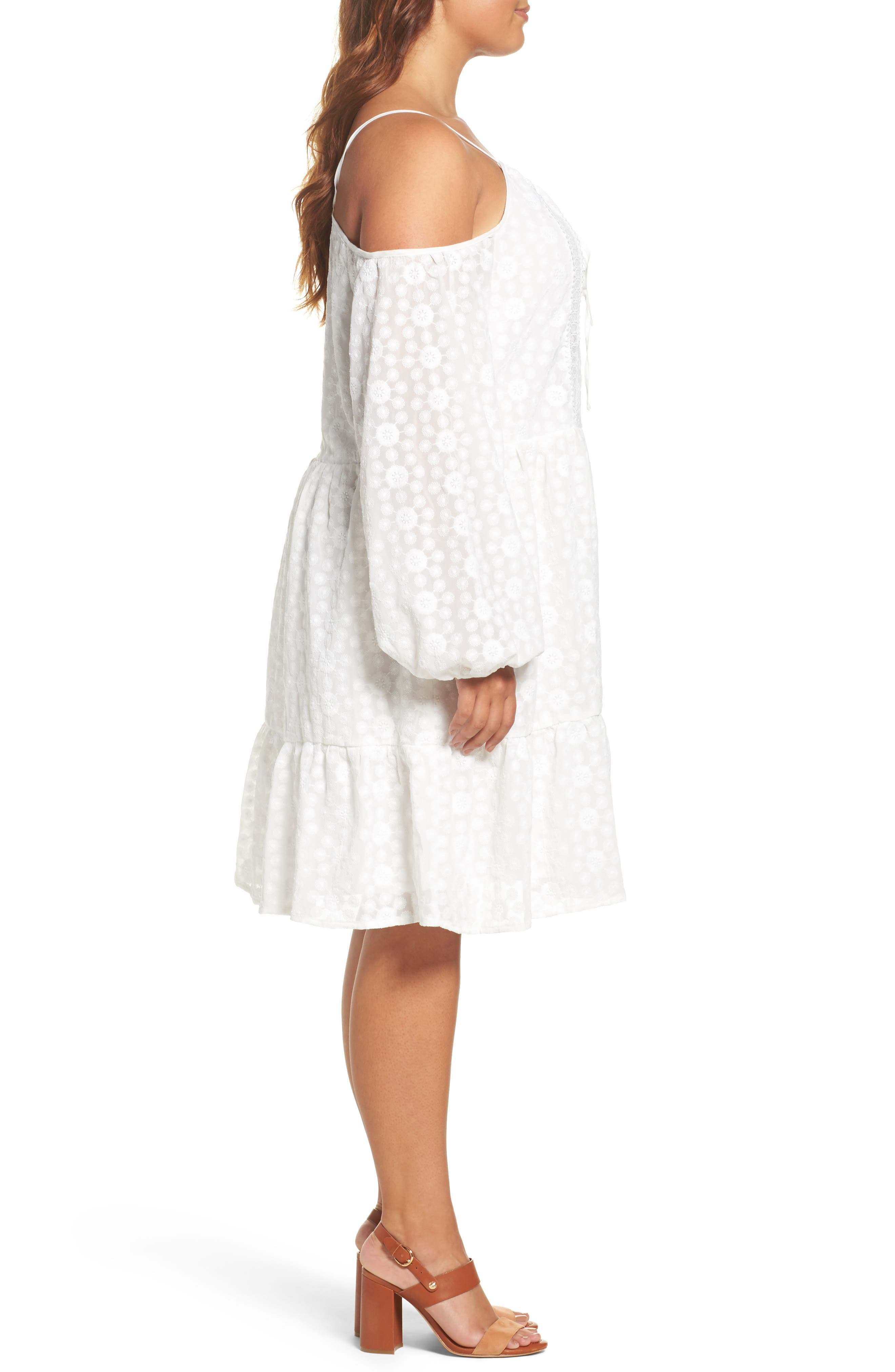 Off the Shoulder Embroidered Trapeze Dress,                             Alternate thumbnail 3, color,                             White