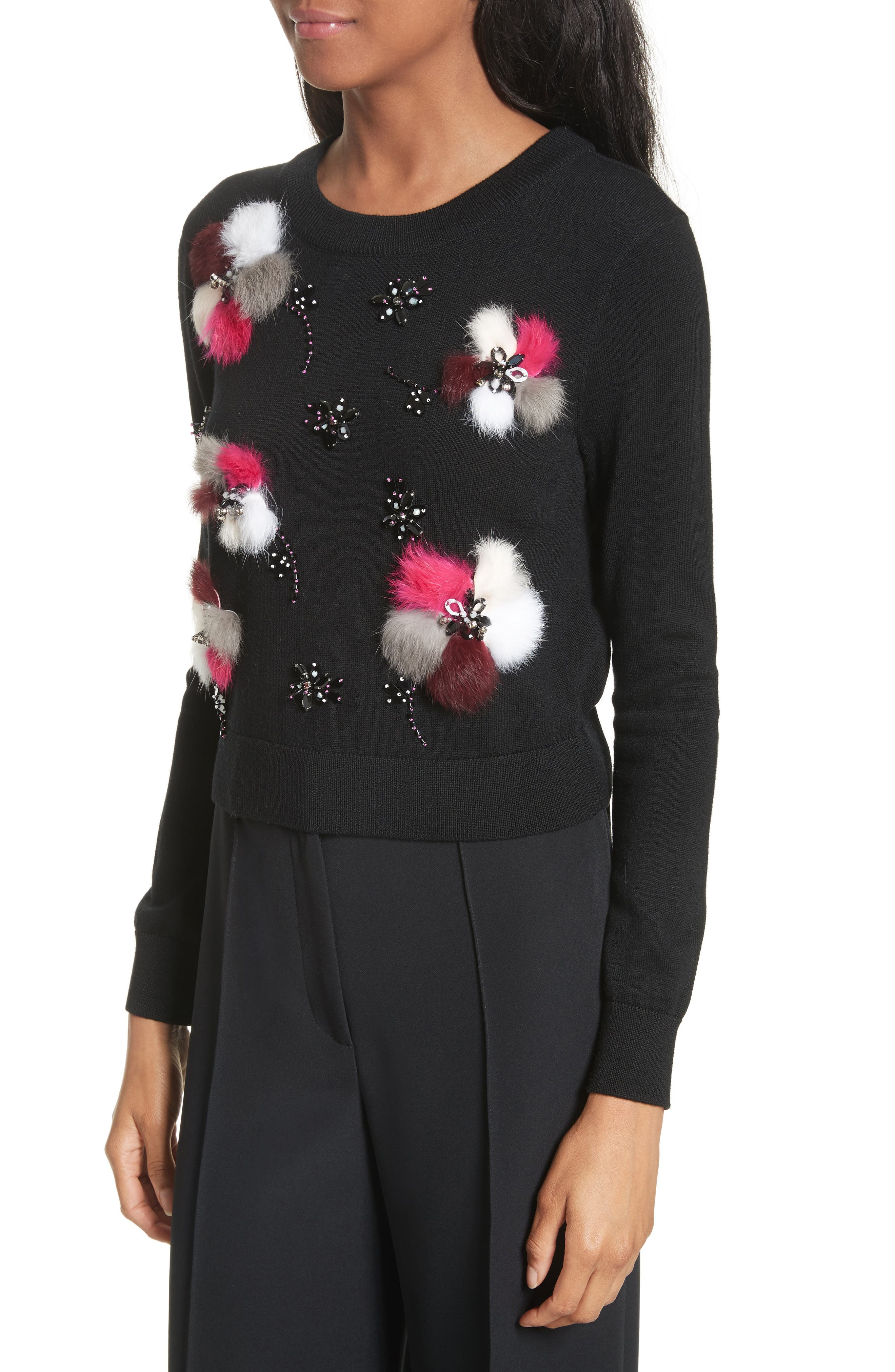 Beaded Wool Sweater with Genuine Rabbit Fur Trim,                             Alternate thumbnail 3, color,                             Black