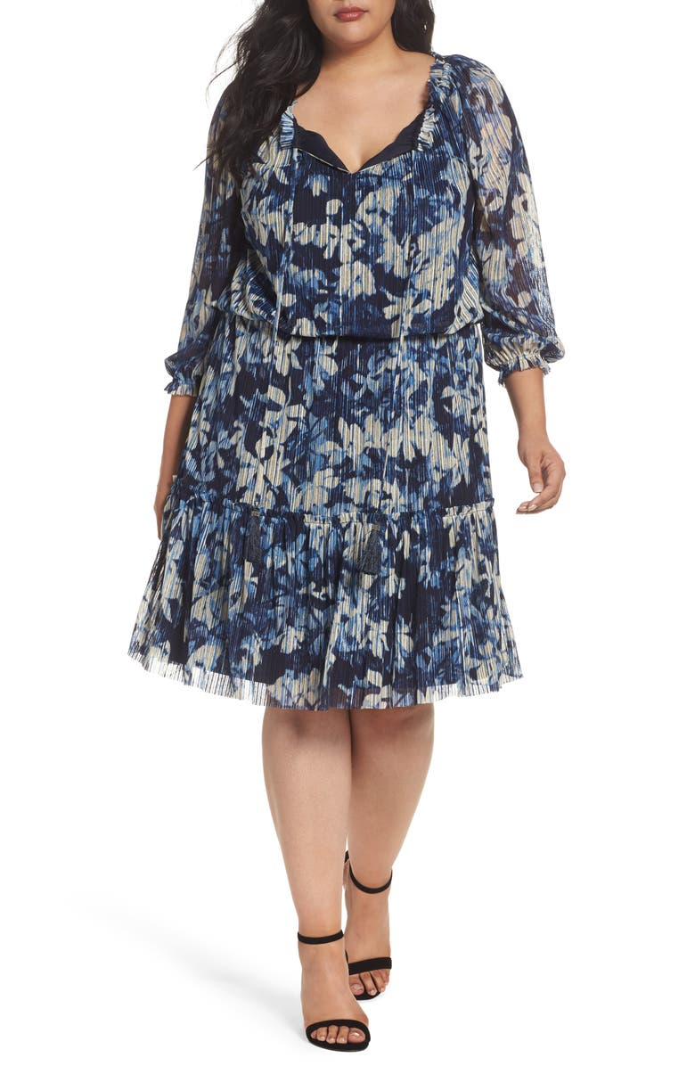 Floral Crinkle Mesh Blouson Dress