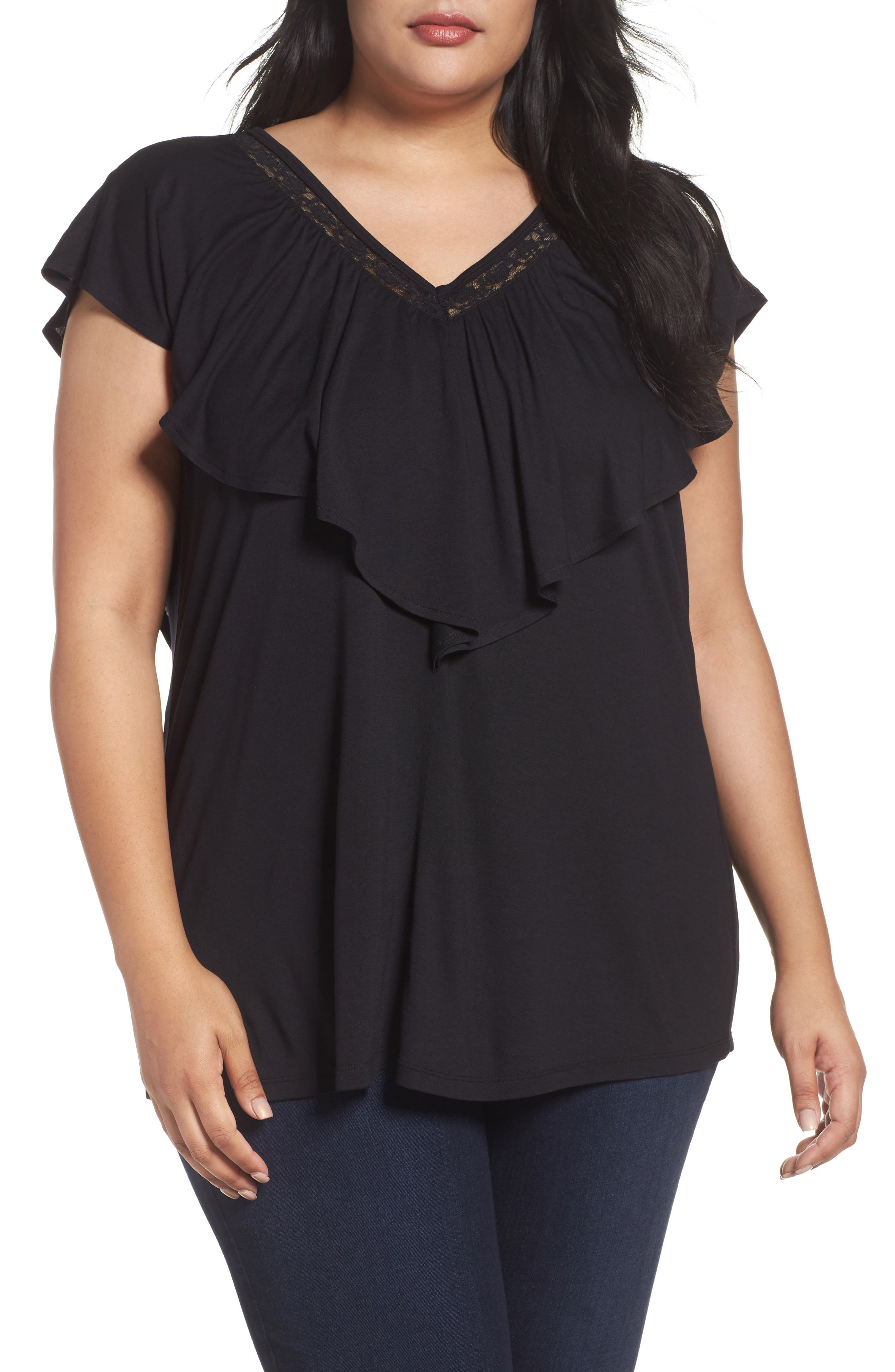 Alternate Image 1 Selected - Sejour Lace Trim Ruffle Tee (Plus Size)